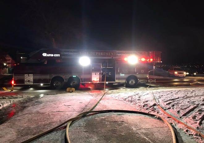 A Rapid City Fire Department truck at the scene of a fatal garage fire at 118 Signal Drive on Monday, Nov. 26, 2018.