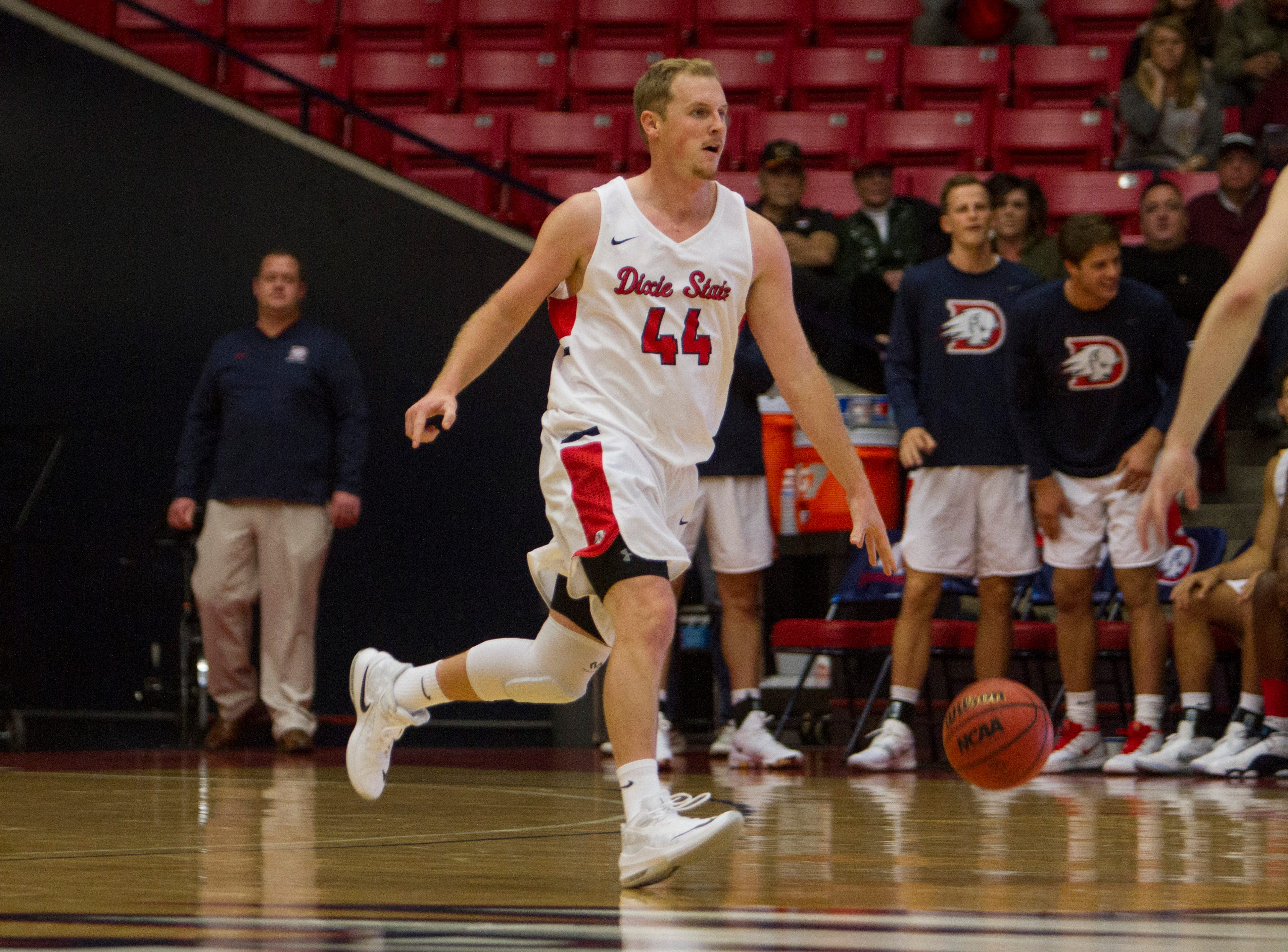 Wade Miller heads down the court as Dixie State basketball defeats Western Oregon University 80-70 on Nov. 24, 2018.