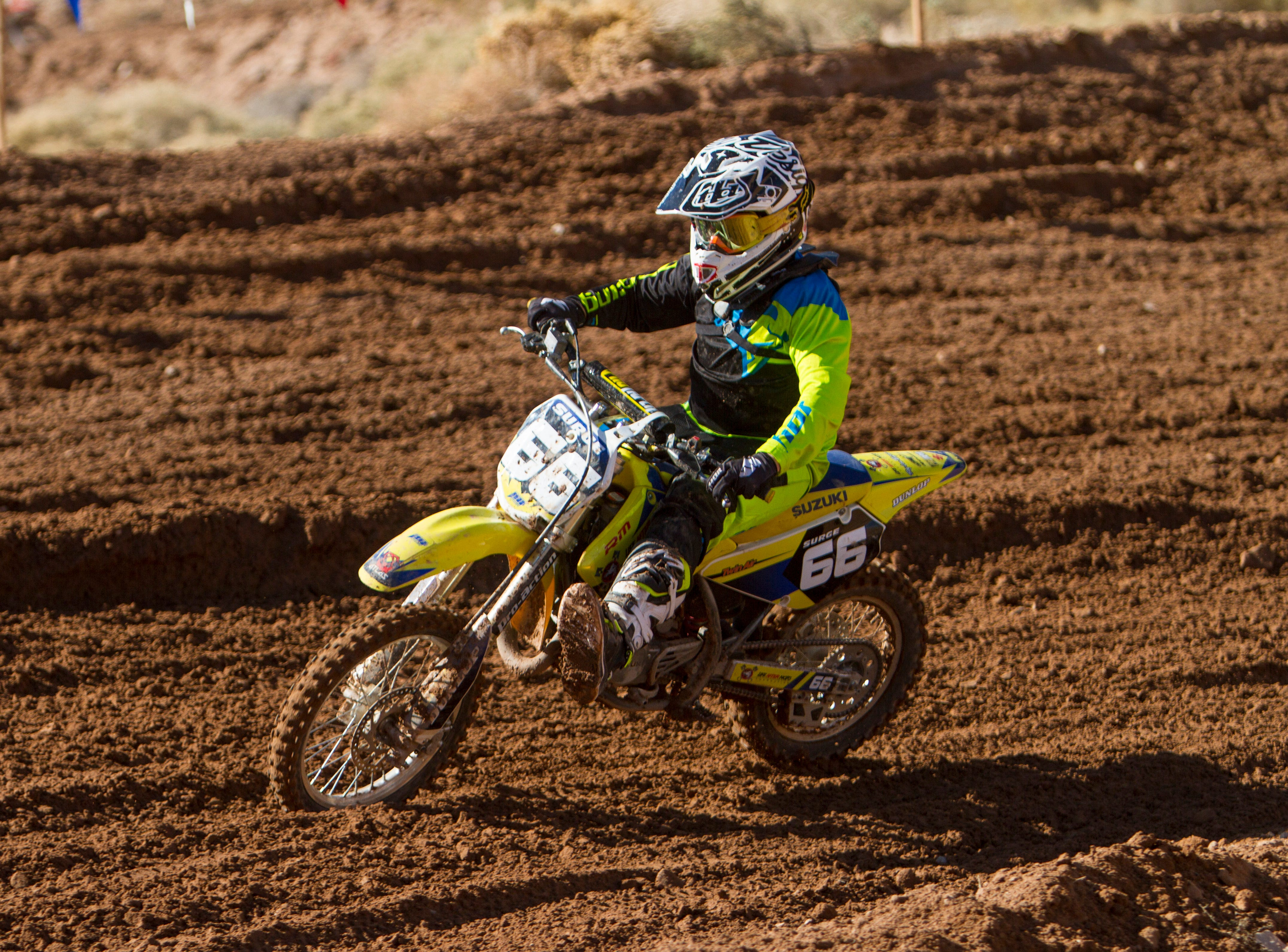 Riders compete in the Thanksgiving Winter Classic at the Mesquite MX Park Saturday, Nov. 24, 2018.
