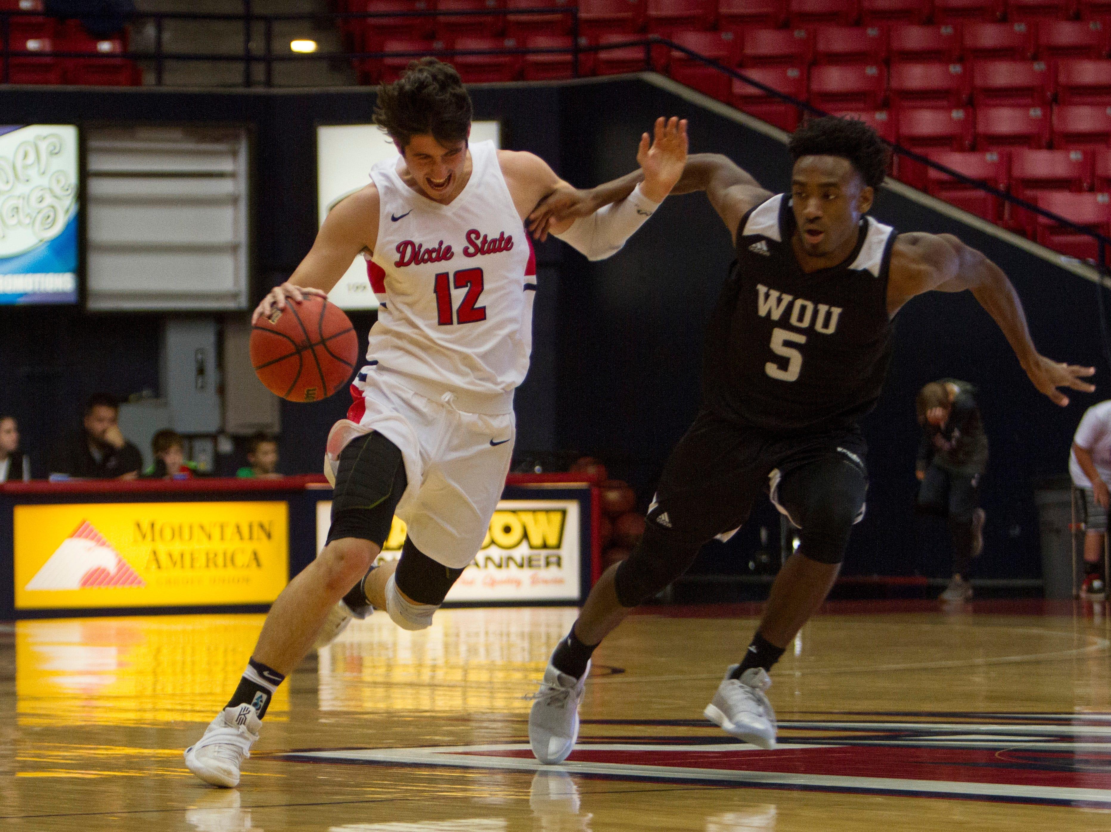 Dixie State basketball defeats Western Oregon University 80-70 Saturday, Nov. 24, 2018.