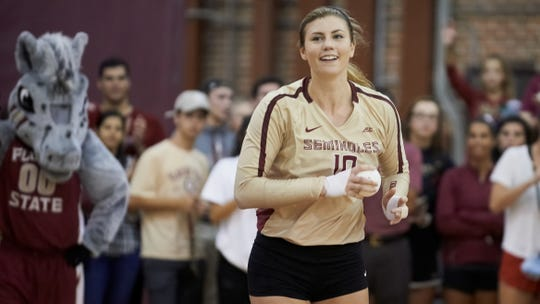 FSU outside hitter Christina Ambrose is one of four seniors on this year's volleyball team. Her quest to end her career with a national championship begins Thursday, Nov. 29 versus Florida in the NCAA Volleyball Tournament.