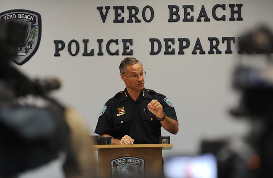 During a Sept. 2, 2014 news conference, Police Chief David Currey discusses the Sept. 1 fatal stabbing of a man outside a McDonald's restaurant in the 1900 block of US 1 in Vero Beach.  According to the Police Department, Rene Cruz, 59, a homeless person in Vero Beach, is accused of fatally stabbing Kevin Adorno, 28, of Connecticut, at around 9:20 p.m. Monday in the restaurant's parking lot.