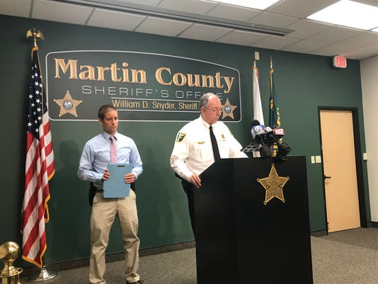 Drew Patterson , (left) and Martin County Sheriff William Snyder (right) talking about the fatal shooting that took place Sunday in Martin County