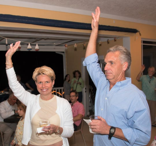 Holly and David Hiebert, parents of Jupiter High School sailors, attend the 2018 All Hands on Deck fundraiser to benefit the high school sailing program at the US Sailing Center - Martin County in Jensen Beach.