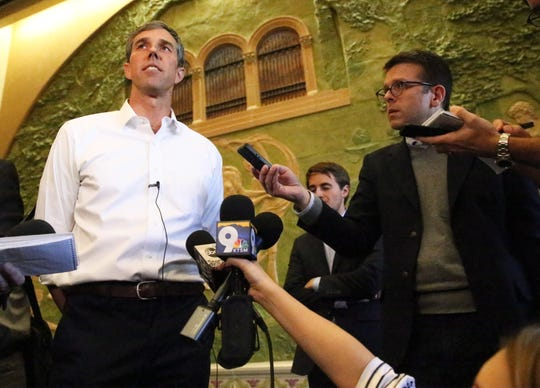 U.S. Rep. Beto O'Rourke speaks to the media Monday following his first town hall since the midterm elections.
