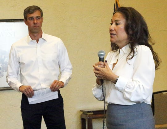Then-U.S. Rep.-elect Veronica Escobar speaks after being introduced by then-U.S. Rep. Beto O'Rourke at O'Rourke's first town hall since the midterm elections in Downtown El Paso.