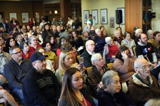 A capacity crowd hears U.S. Rep. Beto O'Rourke speak Monday at his first town hall since the midterm elections at the El Paso Community Foundation in downtown El Paso.