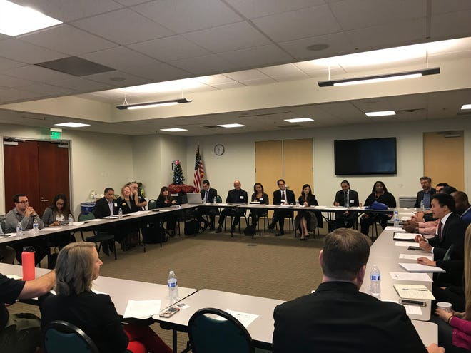 Representatives from various federal agencies meet with local business leaders at the Ventura County Community Foundation on Monday. The meeting was intended to help connect small business owners with financial aid in the aftermath of the Woolsey and Hill fires.
