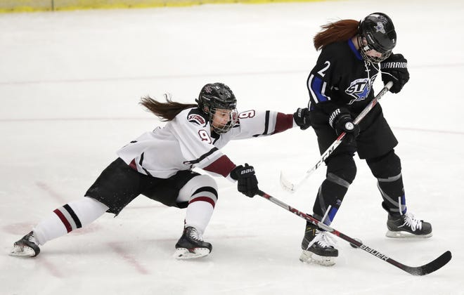 Eden Gruber, left, had eight points in three games over the past week for the Central Wisconsin Storm.