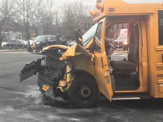A school bus crashed at Route 304 and Washington Avenue in Pearl River on Nov. 26, 2018.
