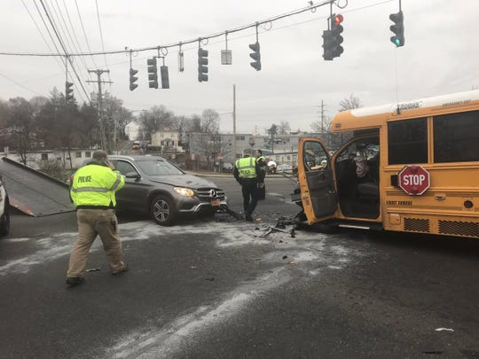 A school bus and a Mercedes-Benz crashed at Route 304 and Washington Avenue in Pearl River on Nov. 26, 2018.