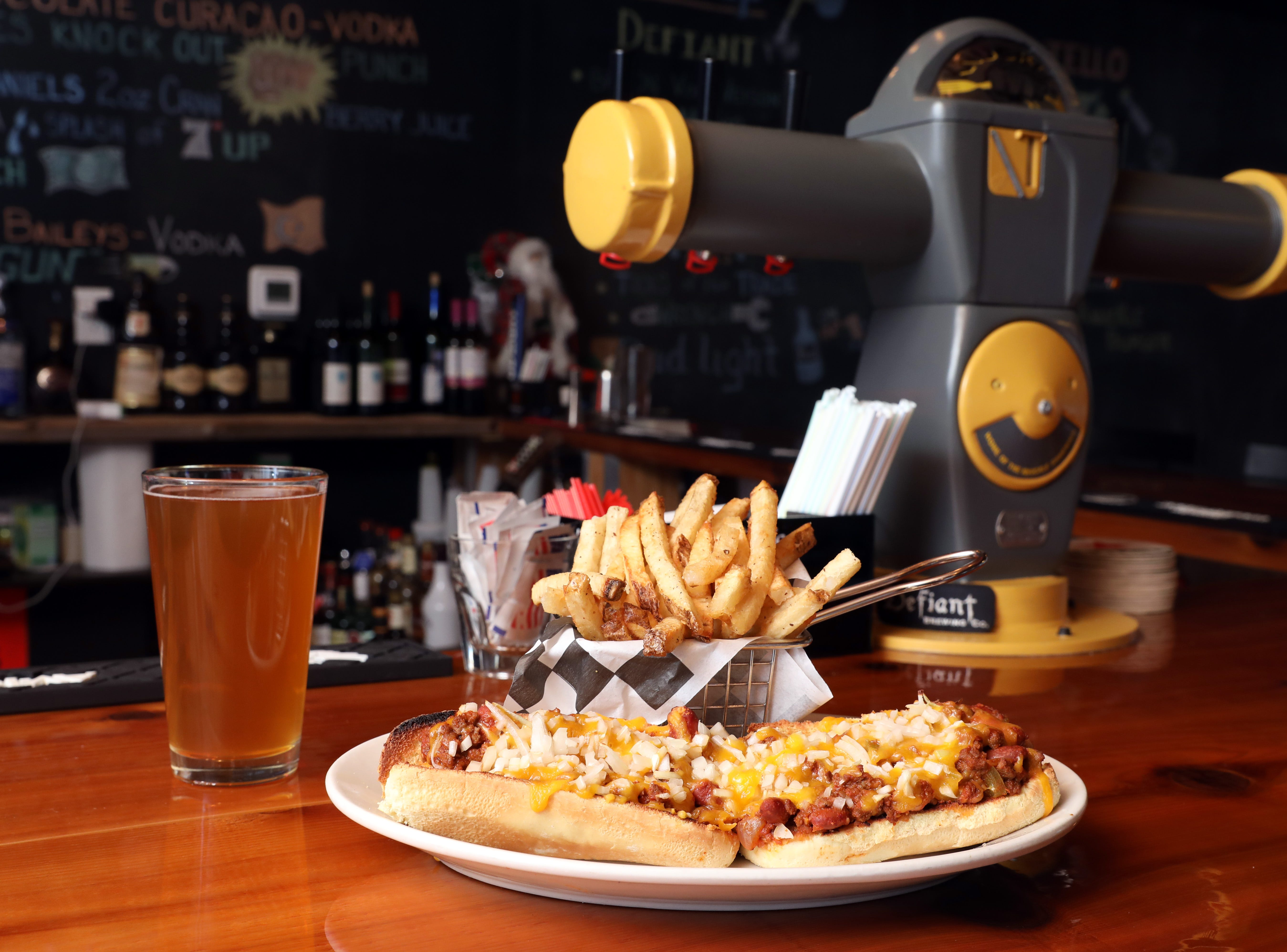 The Chilli Carne Dog at the bar, where the tap is a made from a 1970s New York CityÊparking meter at Knuckles Incorporated, a new restaurant in Stony Point Nov. 26, 2018.