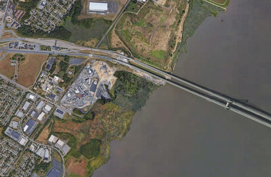 The Croda Inc. plant is located almost directly beneath the Delaware Memorial Bridge.