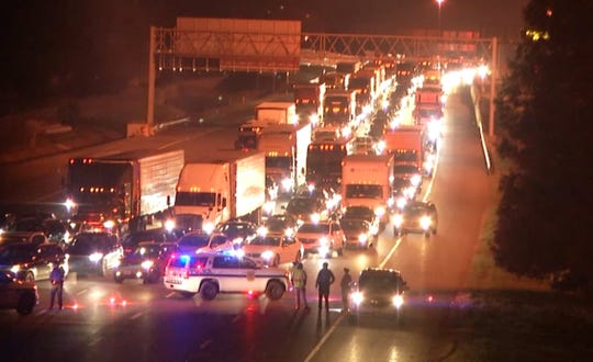 A toxic gas leak from a chemical plant at the base of the Delaware Memorial Bridge shut down all the bridge traffic Sunday night and it could be hours before the bridge reopens.