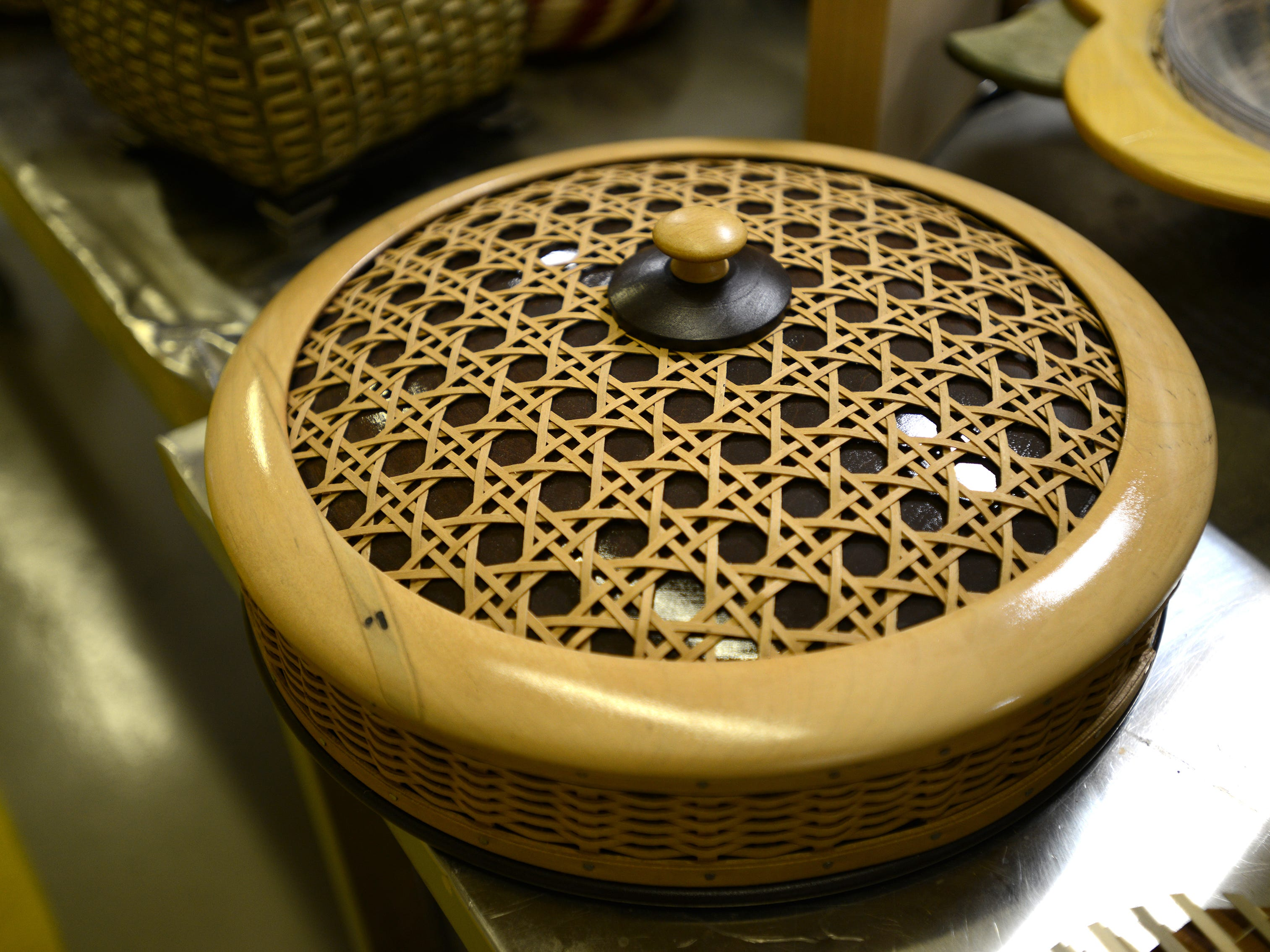 A completed Serenity basket from Longaberger's Master's Studio line.