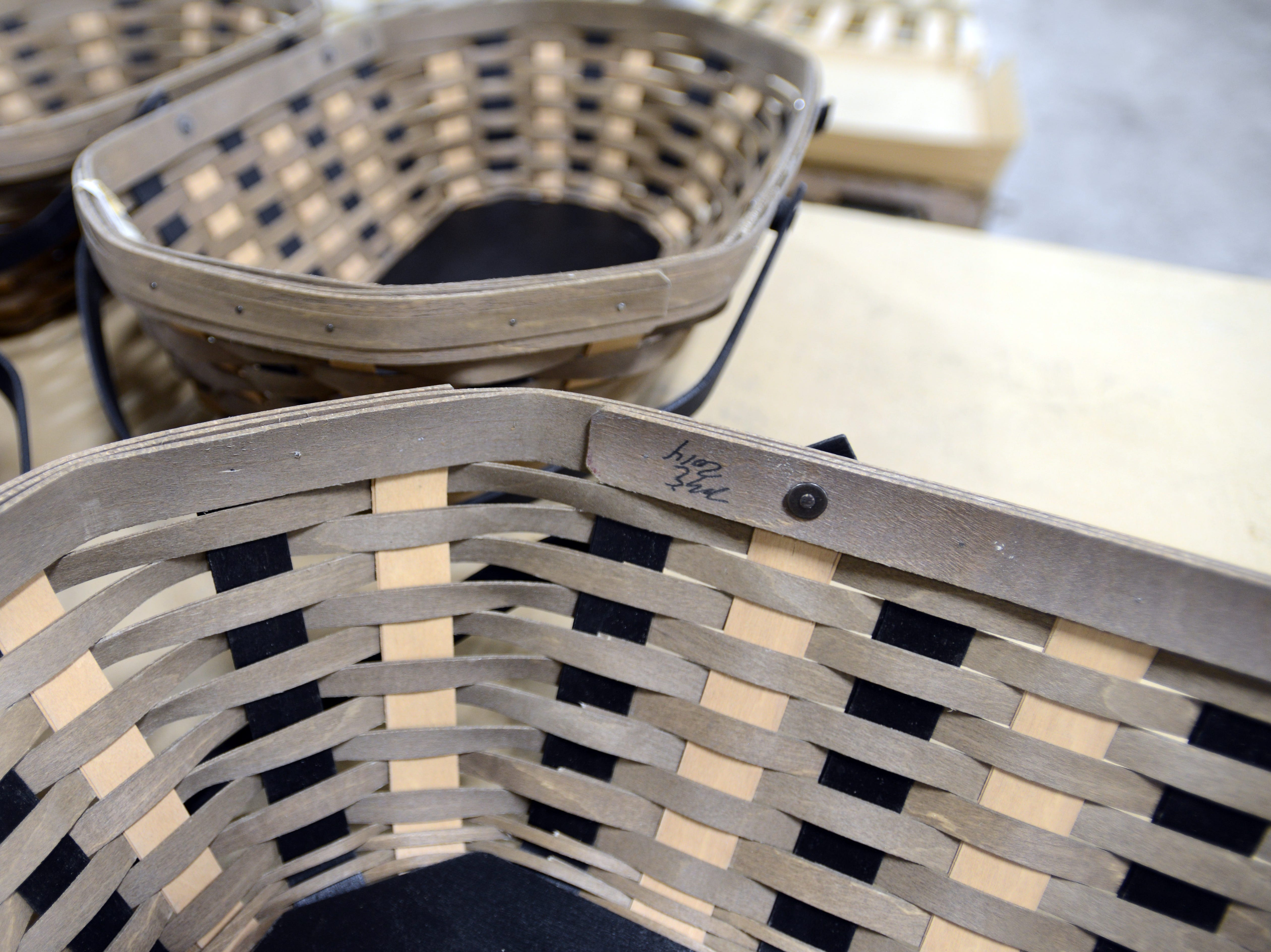 Each basket made a Longaberger gets the signature of the weaver who made it.