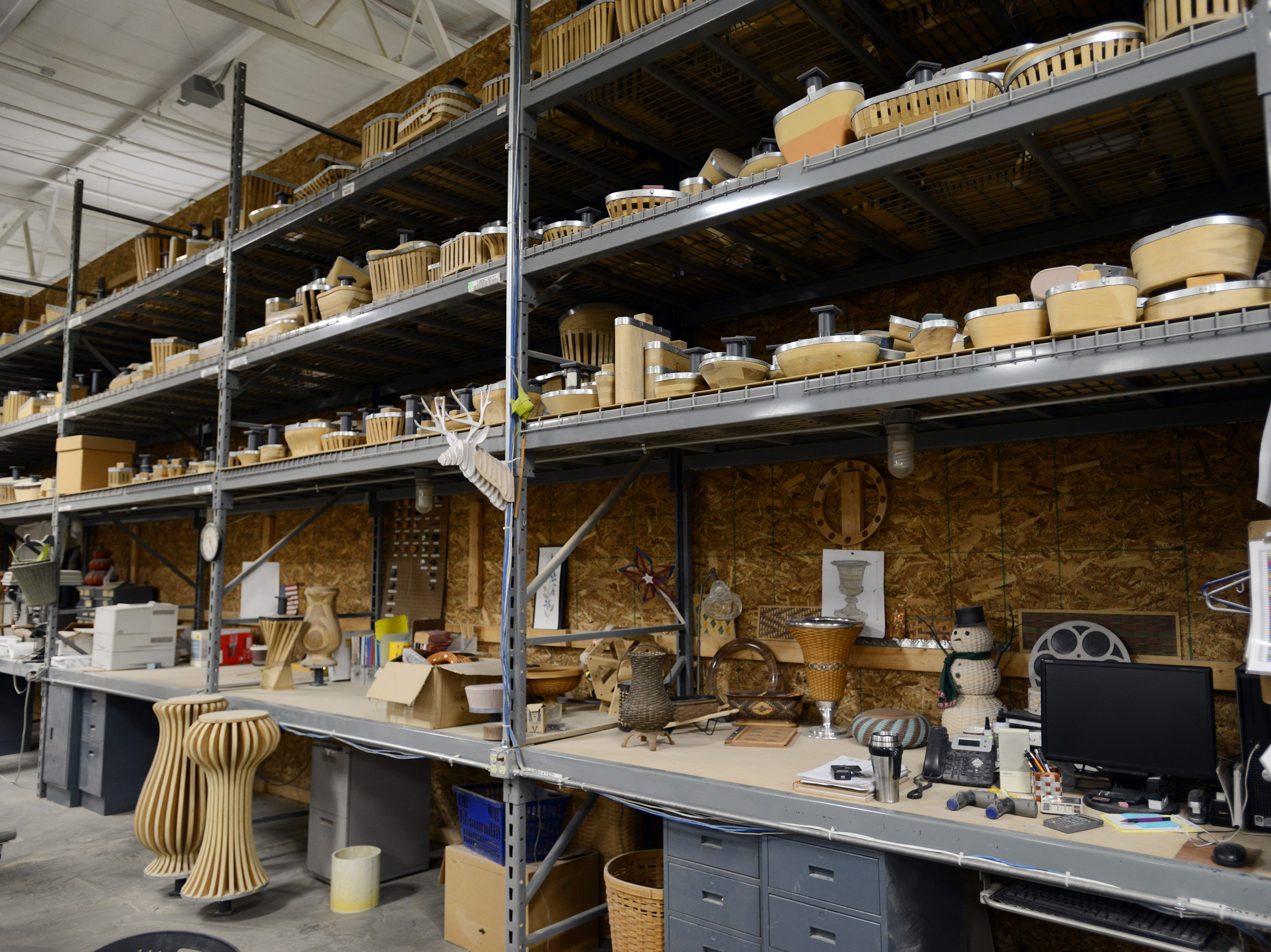 Shelves above Longaberger's design center hold forms for every basket made by the company.