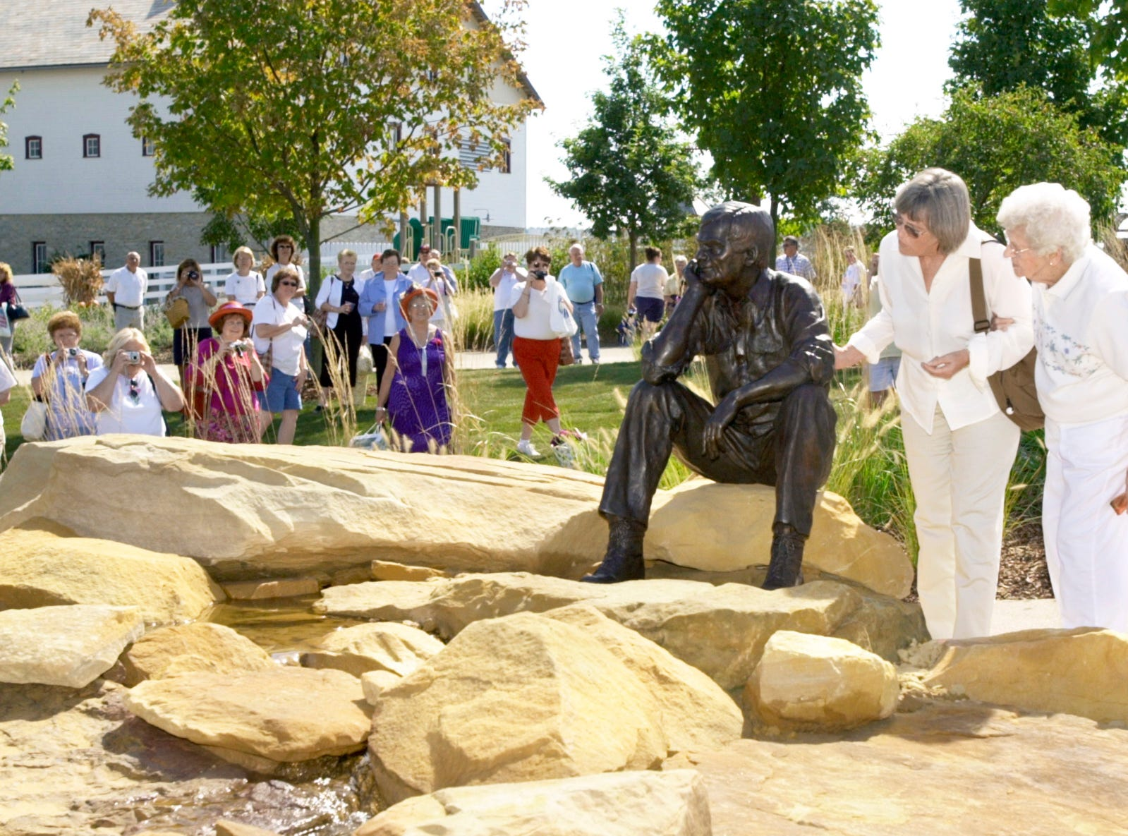 A Times Recorder file photo from the unveiling of the Dave Longaberger statue at the Longaberger Homestead in Frazeysburg in 2002.