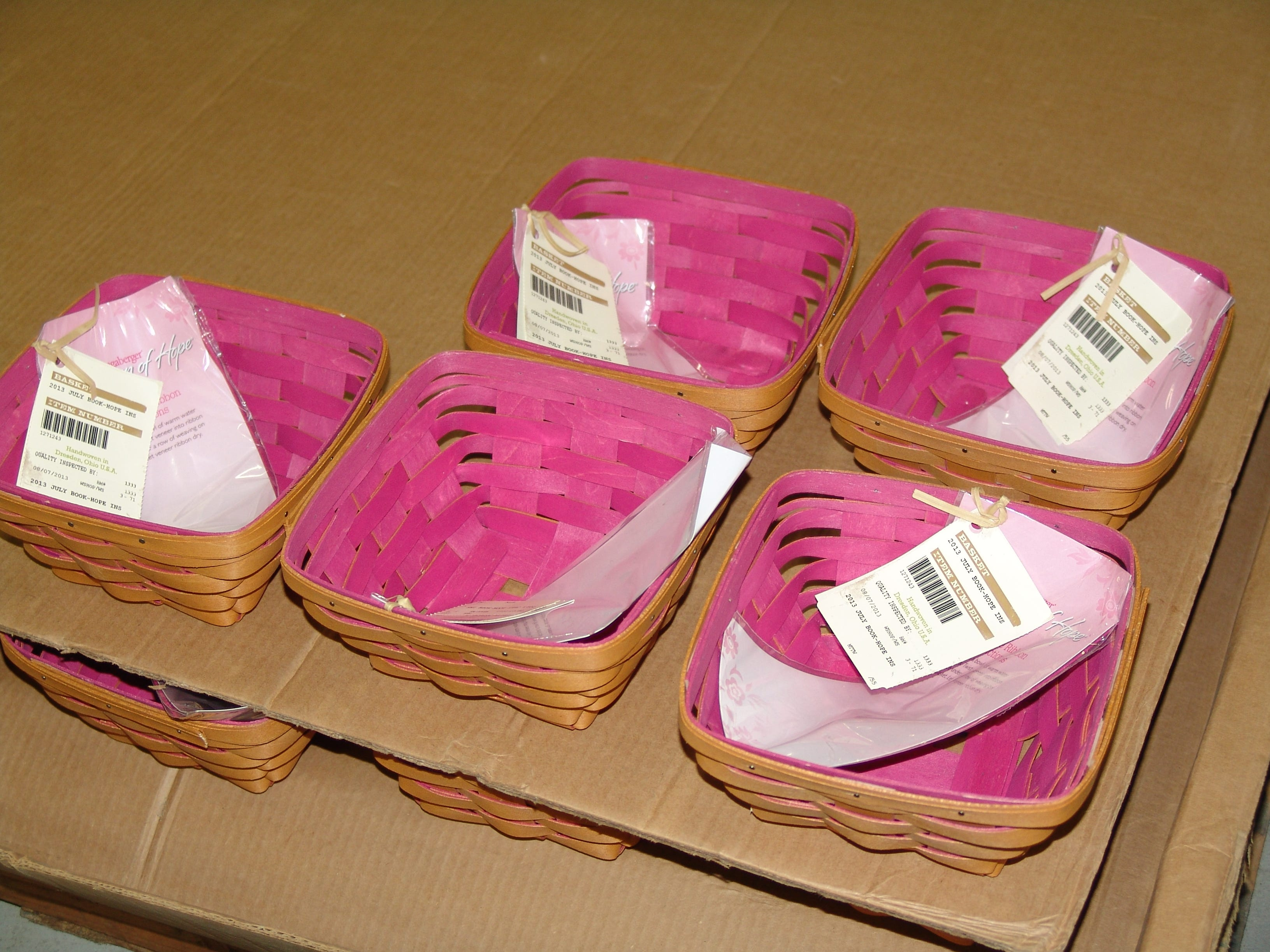 Horzon of Hope Baskets, pictured, are part of a Longaberger line that provides a portion of proceeds to the American Cancer Society to support breast cancer research and awareness. Dave Longaberger founded the Longaberger Company in 1973 in Dresden. Currently, more than 20,000 home consultants sell Longaberger baskets, accessories and other products.