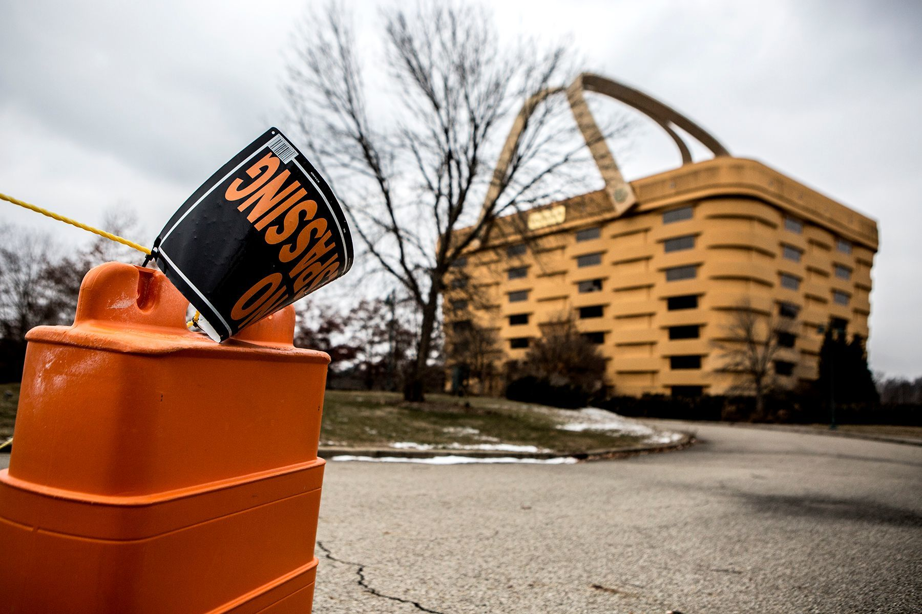 A no trespassing sign sits in front of the Longaberger Basket. The sale of the building has been finalized.