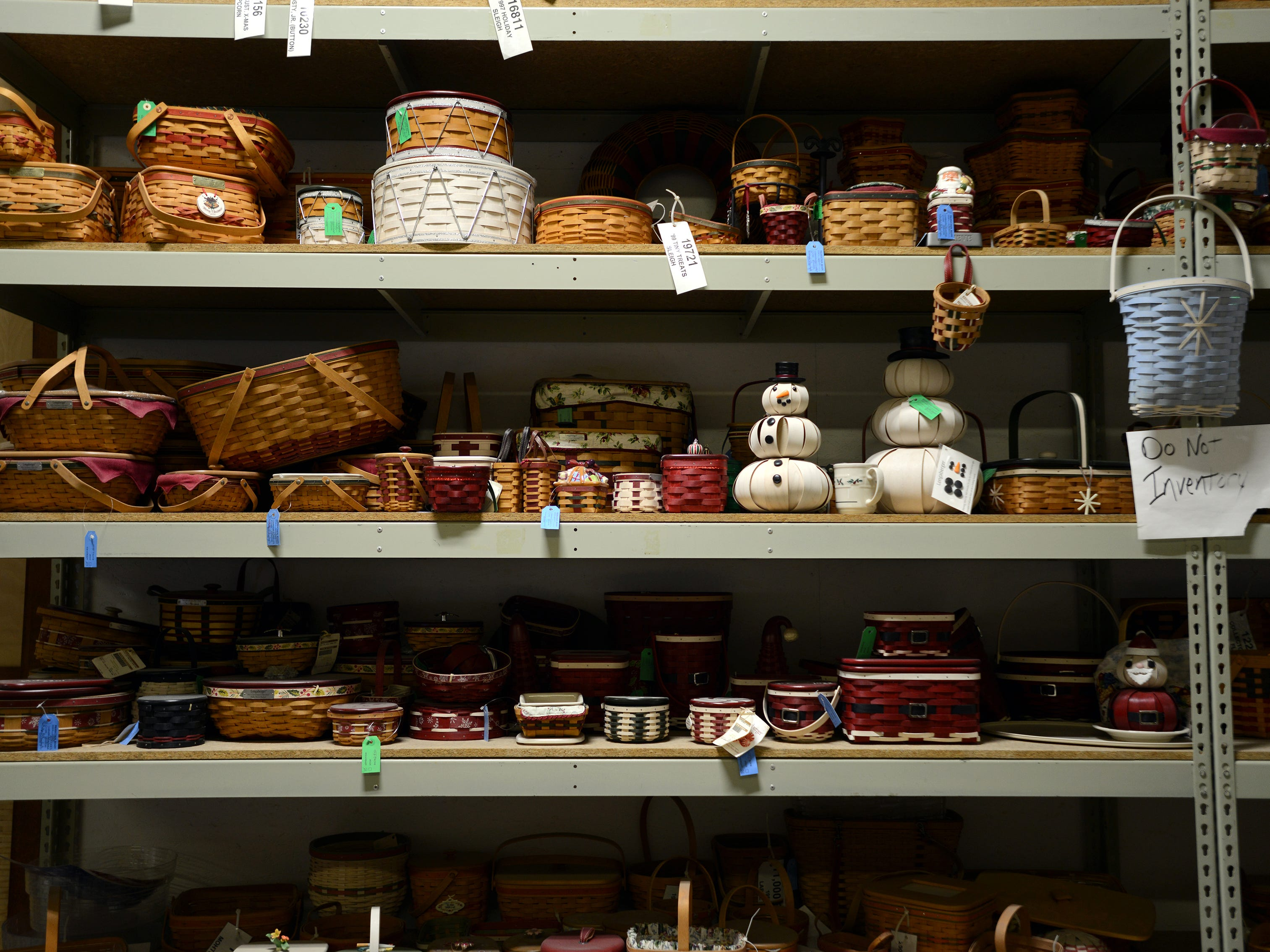 A vertiable museum of baskets fill shelves in the Longaberger factory in Frazeysburg.