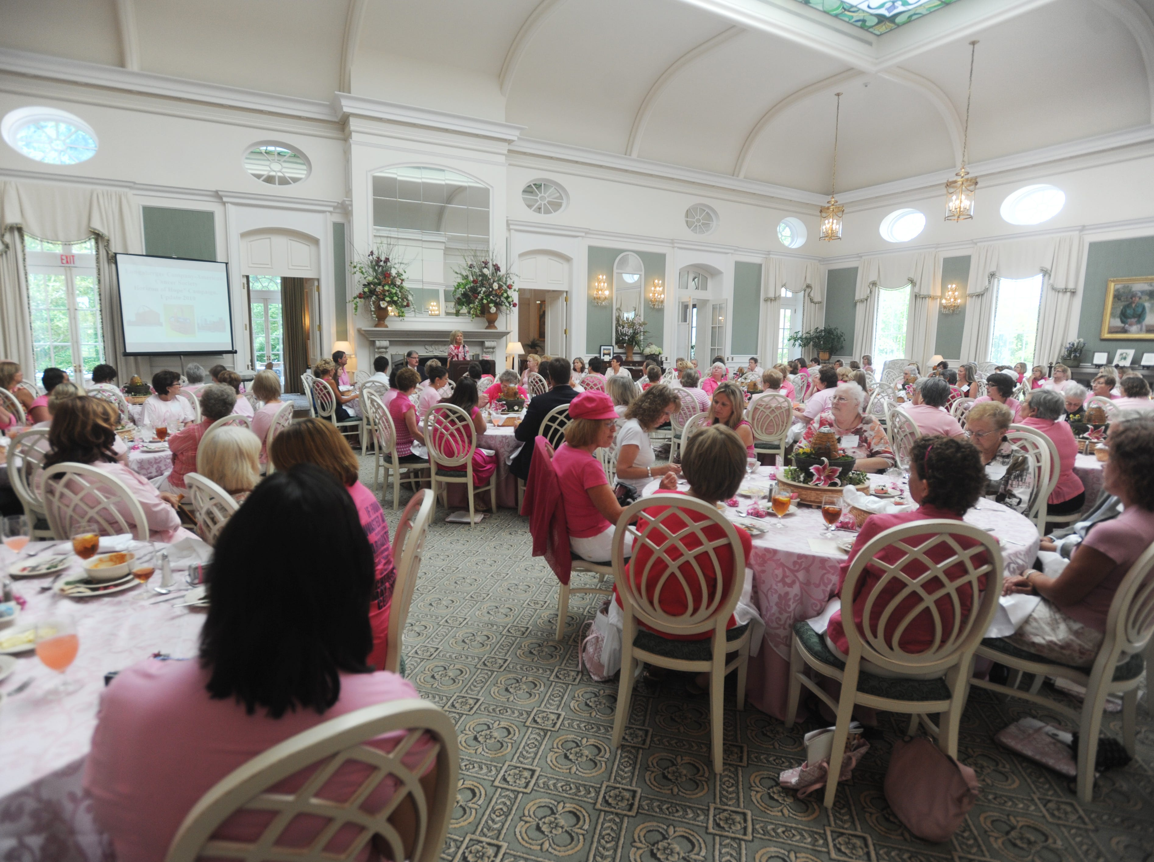 Longaberger CEO Tami Longaberger welcomes attendees to the luncheon, which kicked off the company's Pink Week, part of Longaberger's Horizon of Hope fundraiser.
