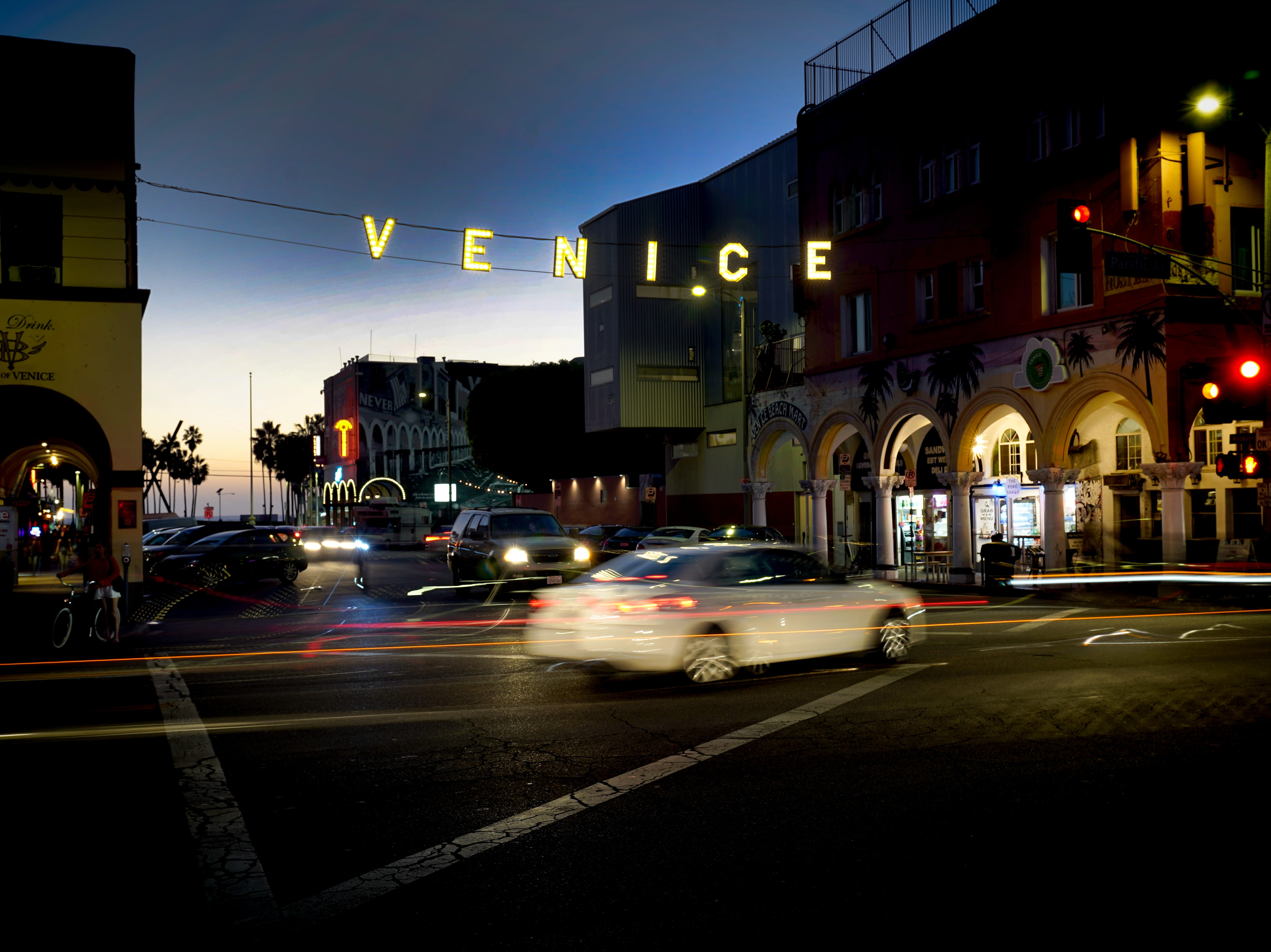 First stop: Venice Beach, just 6.4 miles from the airport. This is the corner of Windward Avenue and Pacific.