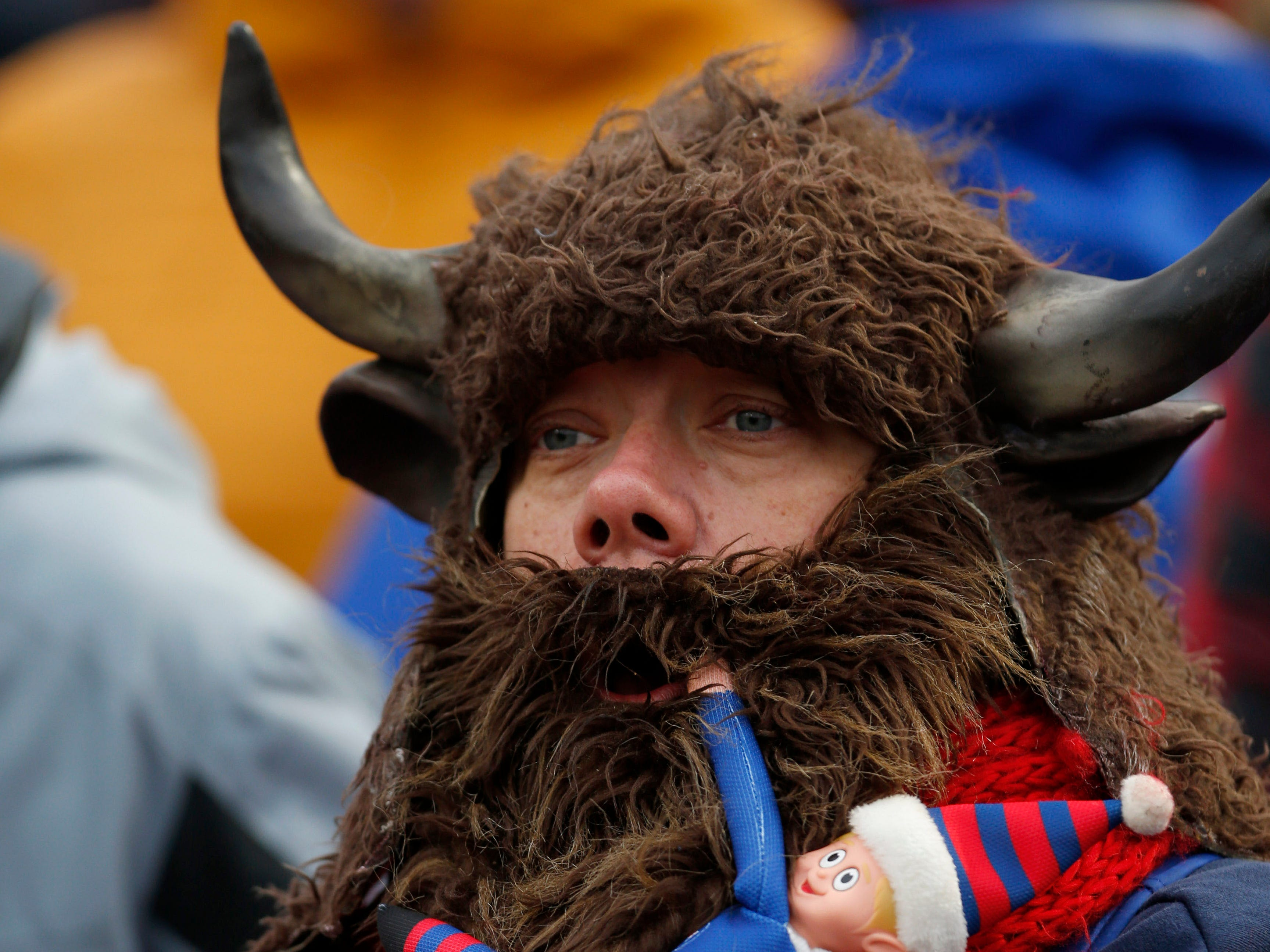 A Buffalo Bills fan cheers for his team during the second half against the Jacksonville Jaguars at New Era Field.