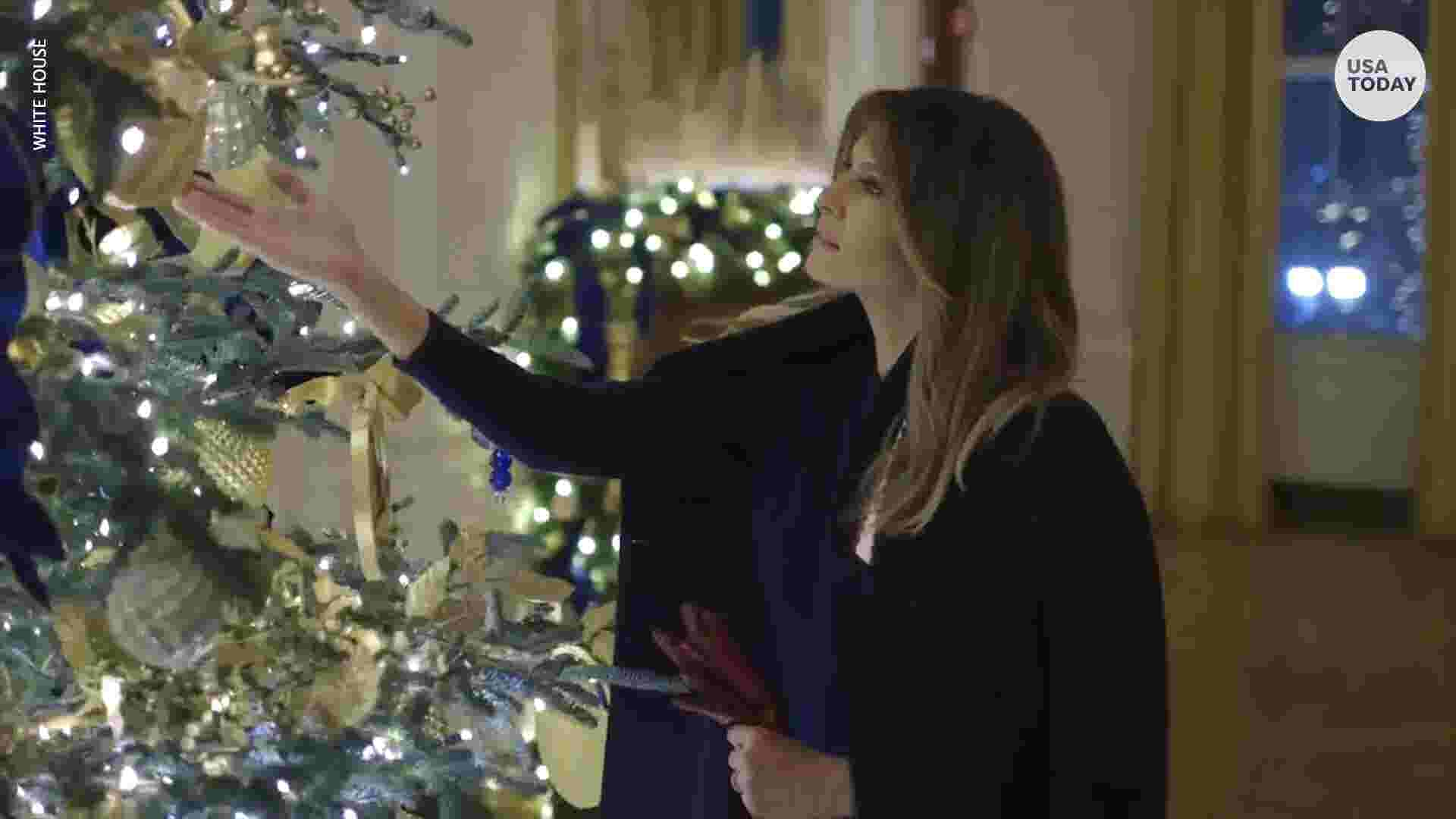 Melania Trump Gives Bush A Tour Of Much Talked About White House Christmas Decor