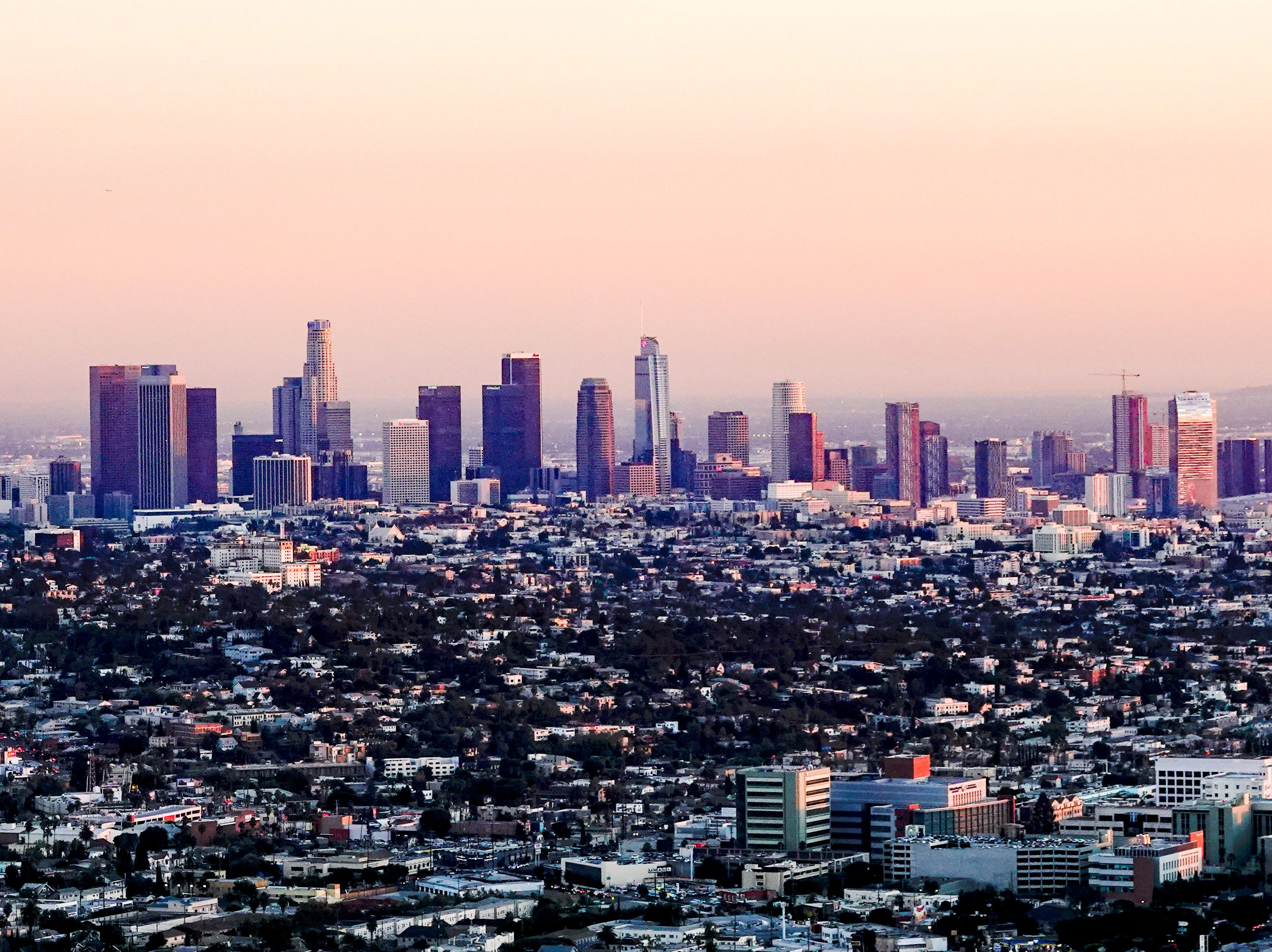 Los Angeles skyline, as seen from a deck at the Griffith Observatory