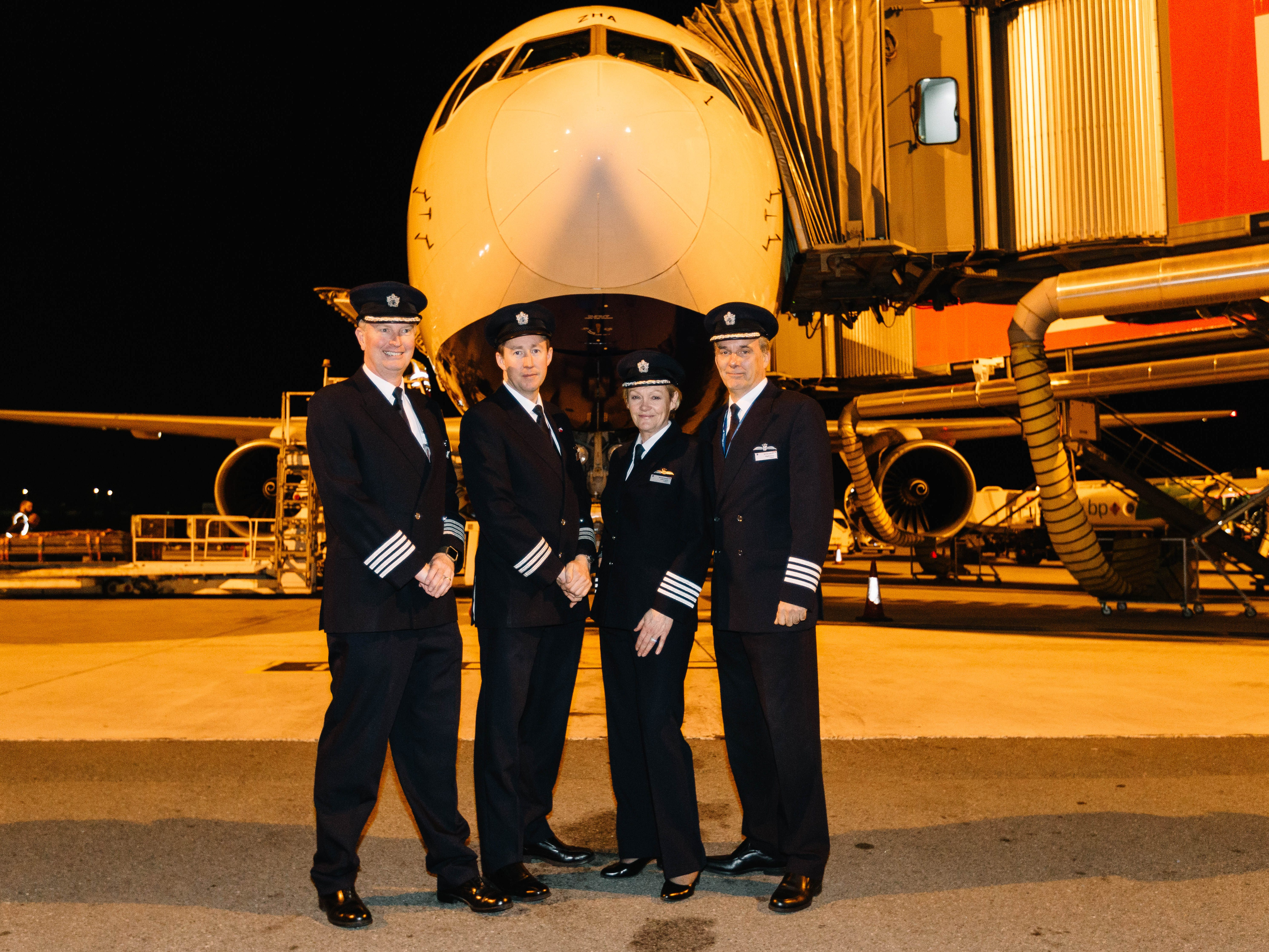 British Airways crew pose as the last Boeing 767 in the airline's fleet was retired on Nov. 25, 2018.