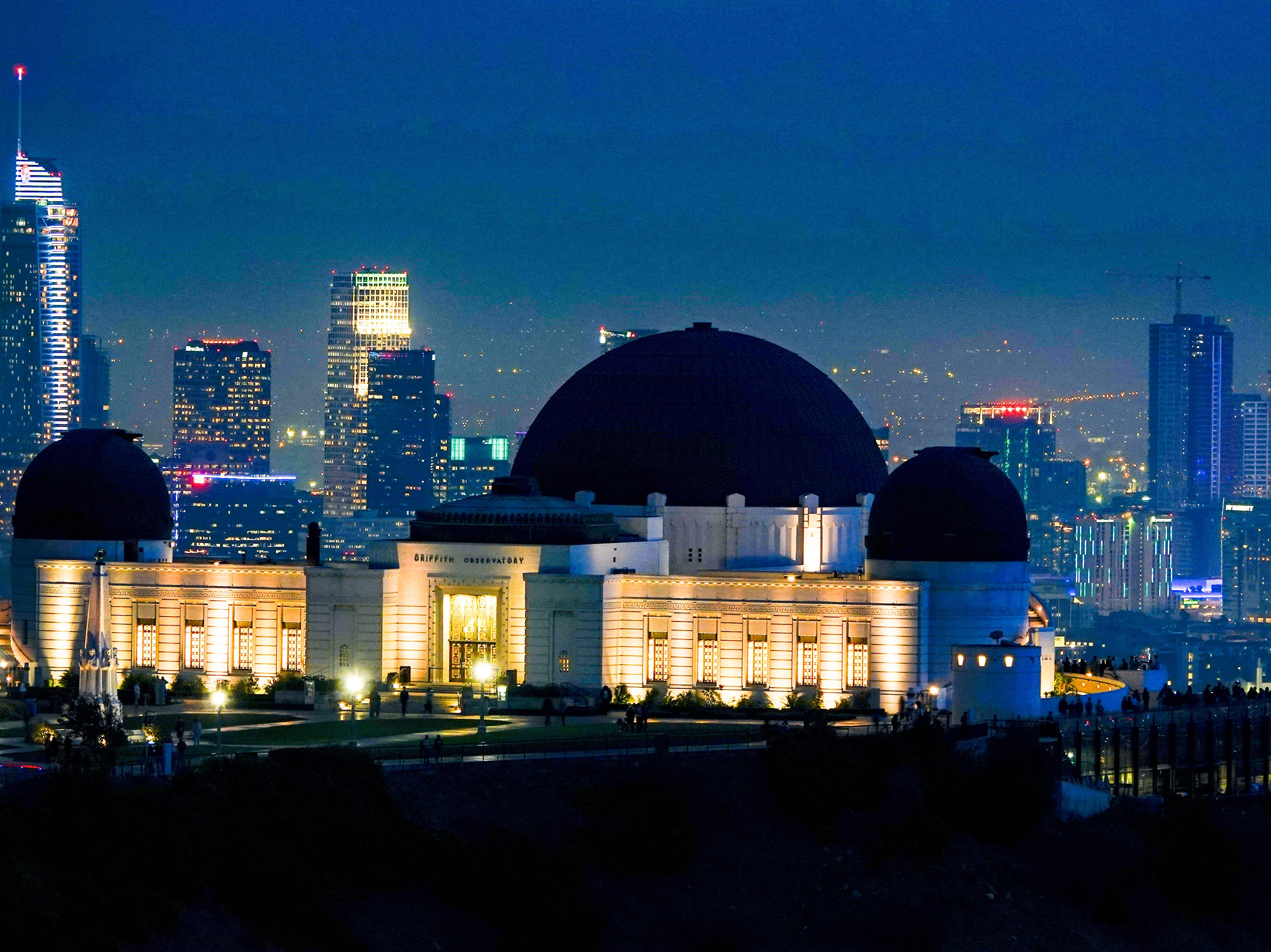 The Observatory by night, just after sunset, as seen from down the way on a hike, with a 600mm lens.