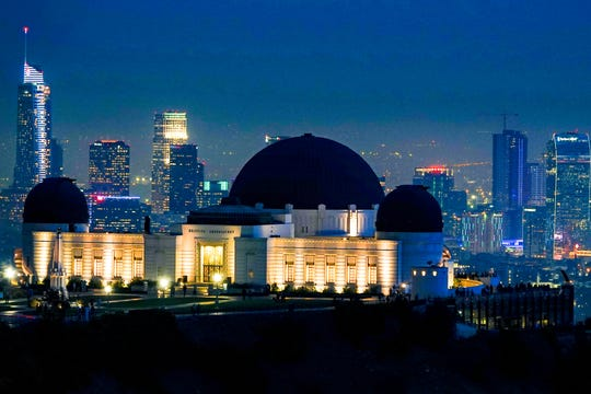 The Griffith Observatory just after sunset.