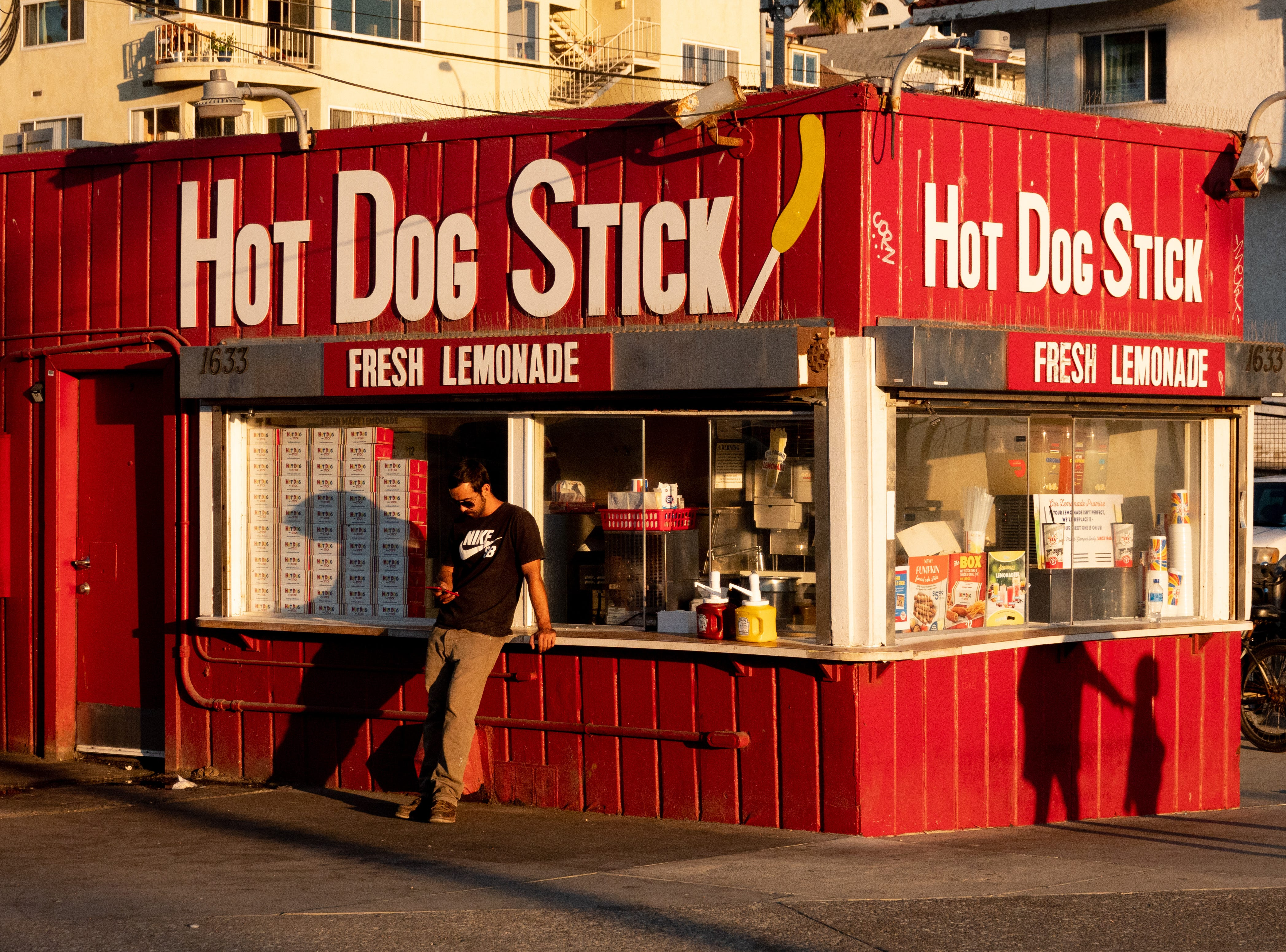 """The Hot Dog Stick stand in Santa Monica. Notice no """"On a"""" here."""