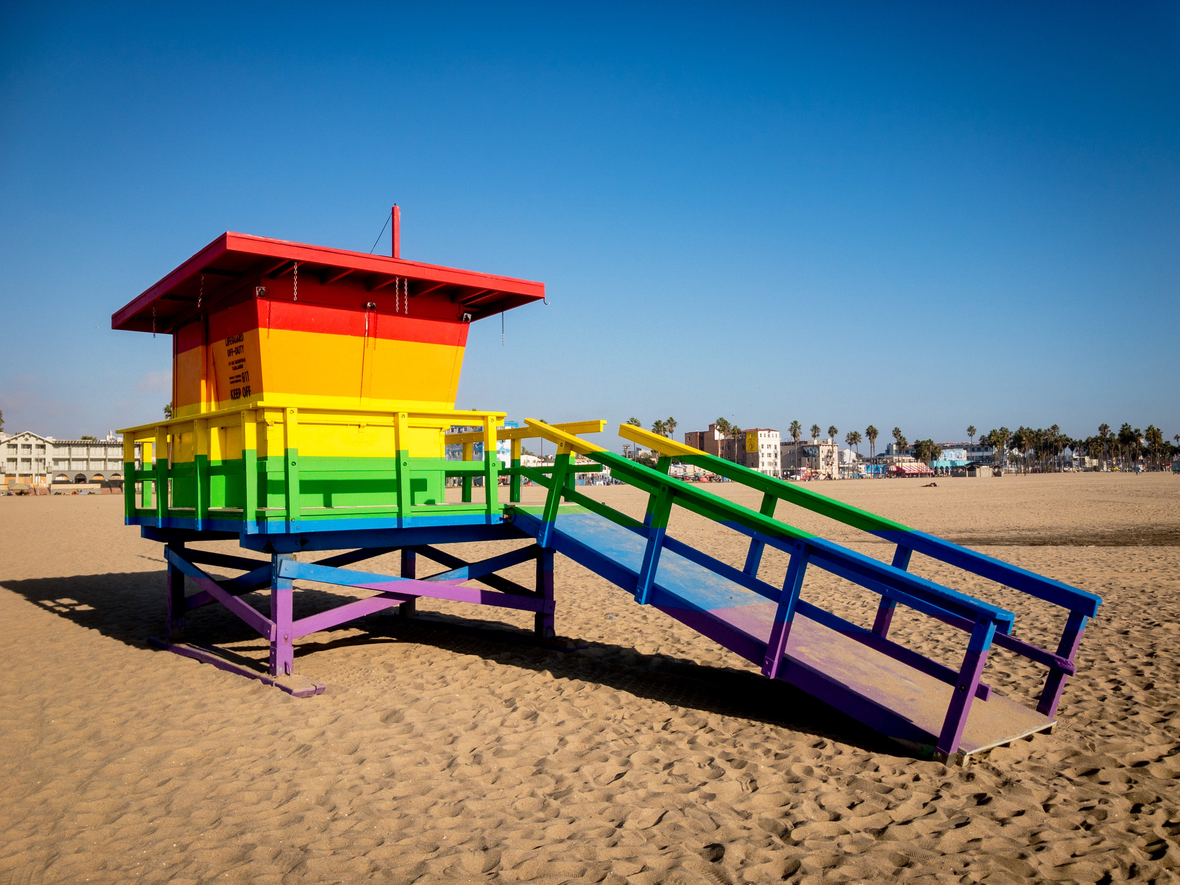 A multi-color lifeguard station in Venice Beach