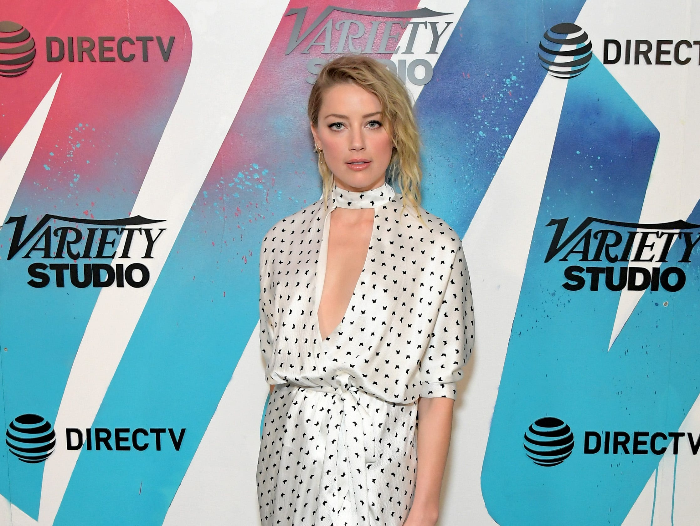 TORONTO, ON - SEPTEMBER 09:  Amber Heard stops by DIRECTV House presented by AT&T during Toronto International Film Festival 2018 at Momofuku Toronto on on September 9, 2018 in Toronto, Canada.  (Photo by Charley Gallay/Getty Images for AT&T and DIRECTV ) ORG XMIT: 775223969 ORIG FILE ID: 1029946416