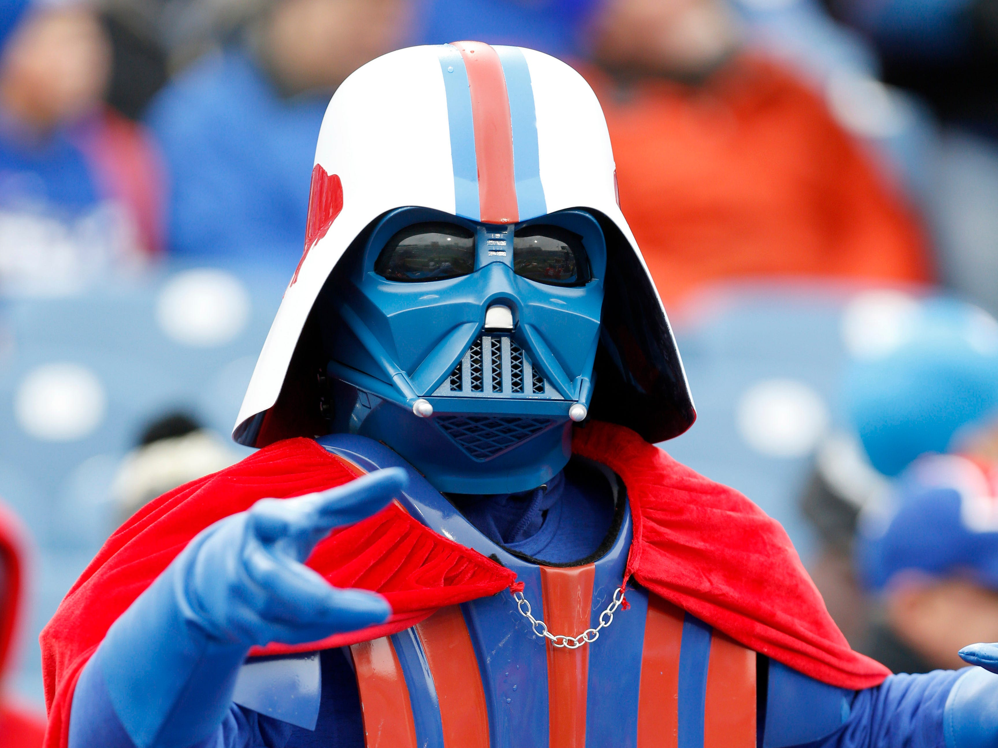 A Buffalo Bills fan cheers on his team before watching a game against the Jacksonville Jaguars at New Era Field.