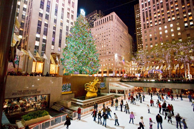 In New York City, Rockefeller Center's famous Christmas tree attracts hundreds of thousands of visitors every year. This year's tree, a 72-foot, 12-ton Norway spruce, grew about 75 miles away in Wallkill, New York. It's draped with about 50,000 LED lights, and topped with a 900-pound star made from 3 million Swarovski crystals.