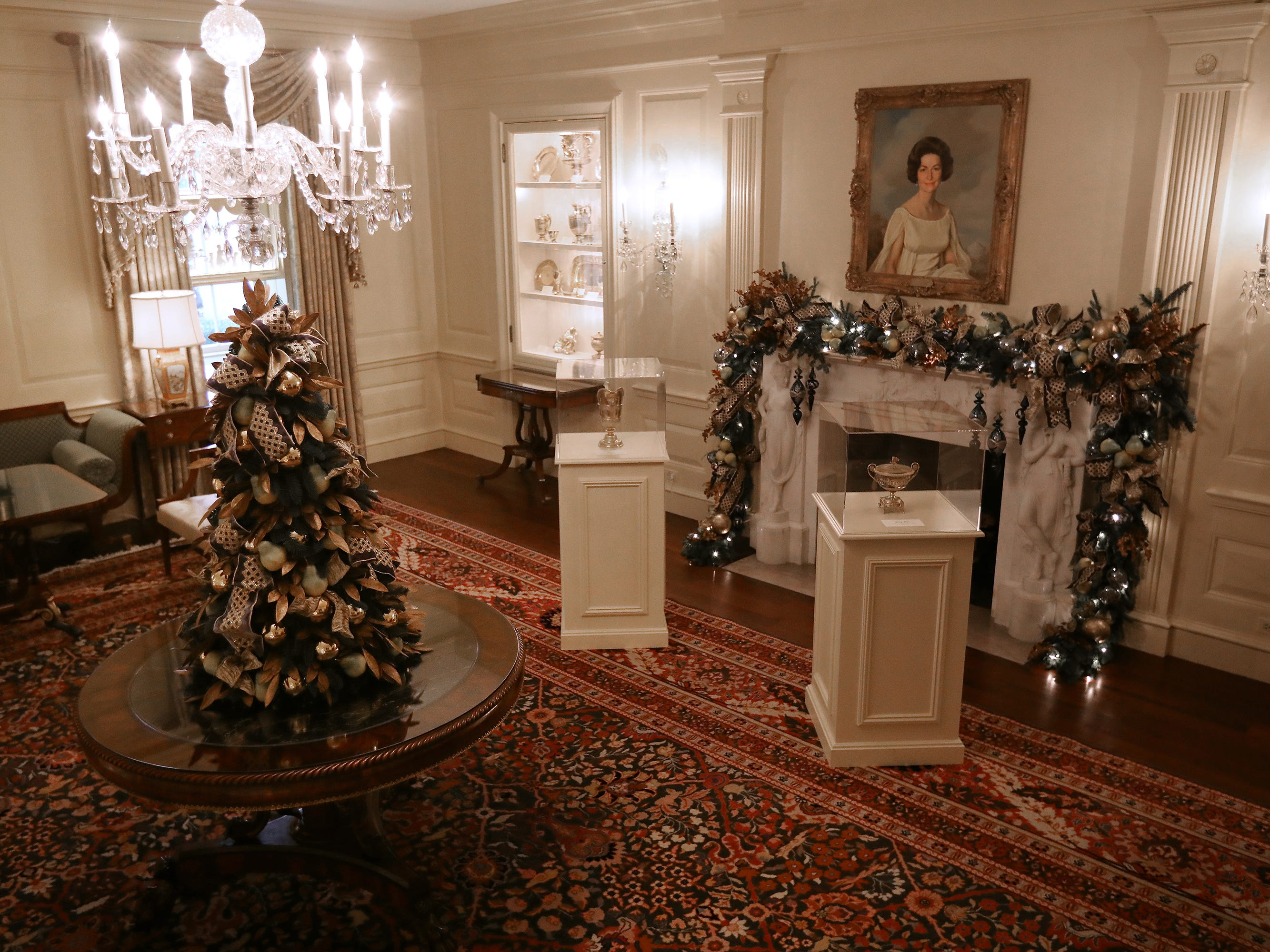 The Vermeil Room is decorated for the holidays at the White House, Nov. 26, 2018 in Washington.