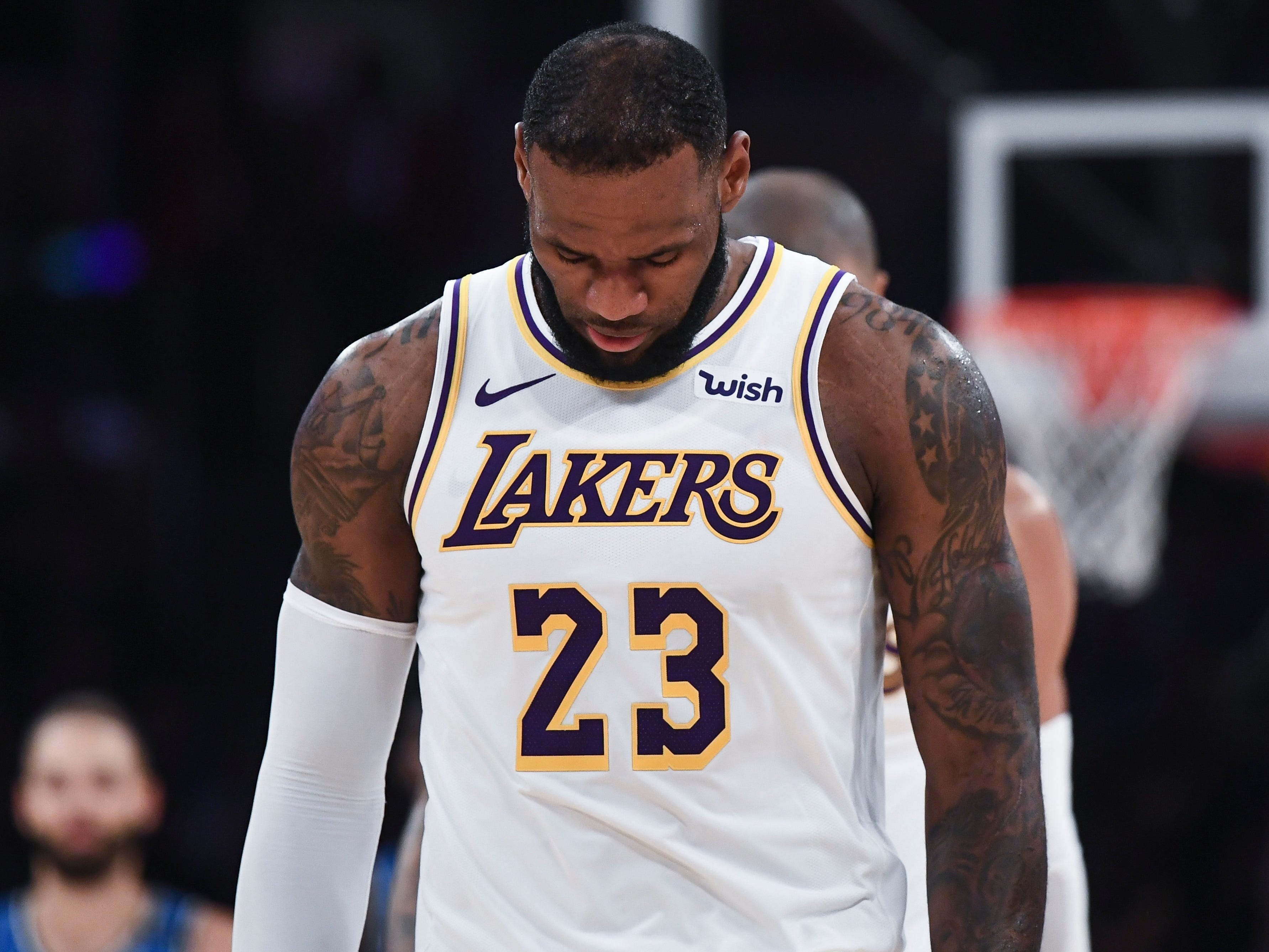 Nov. 25, 2018: LeBron James hangs his head as the Lakers cough up a fourth-quarter lead in a home loss to the Magic.