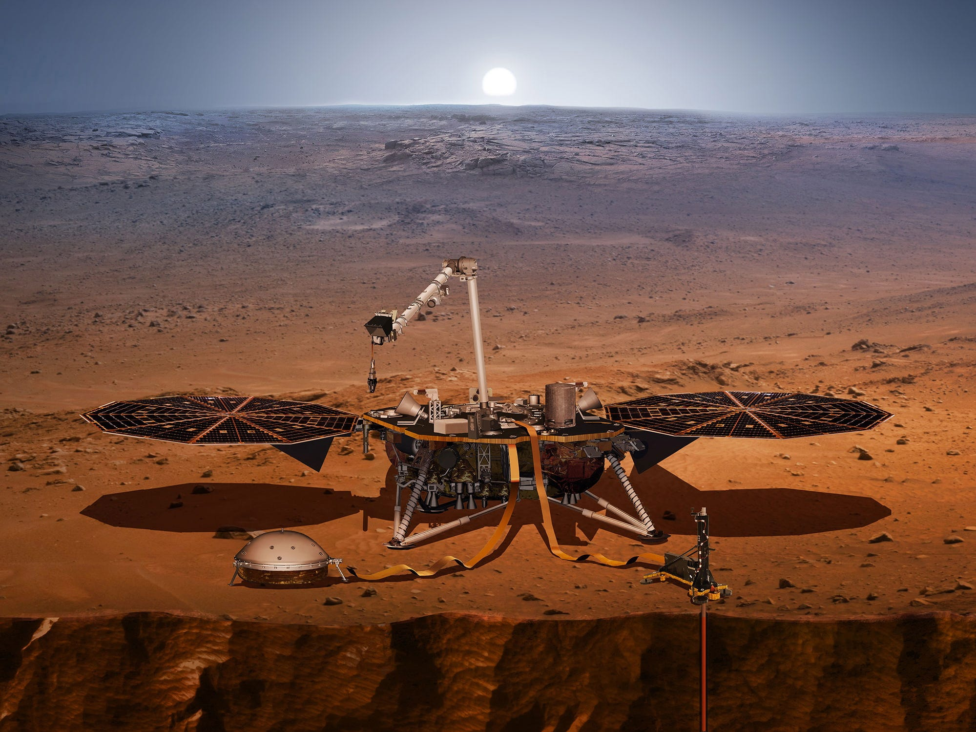 "An artist's rendering made available by NASA shows an illustration of NASA's InSight lander probing the ""Inner Space"" of Mars. The InSight, a lander dedicated to studying the deep interior of the planet, is the first mission ever to do so."