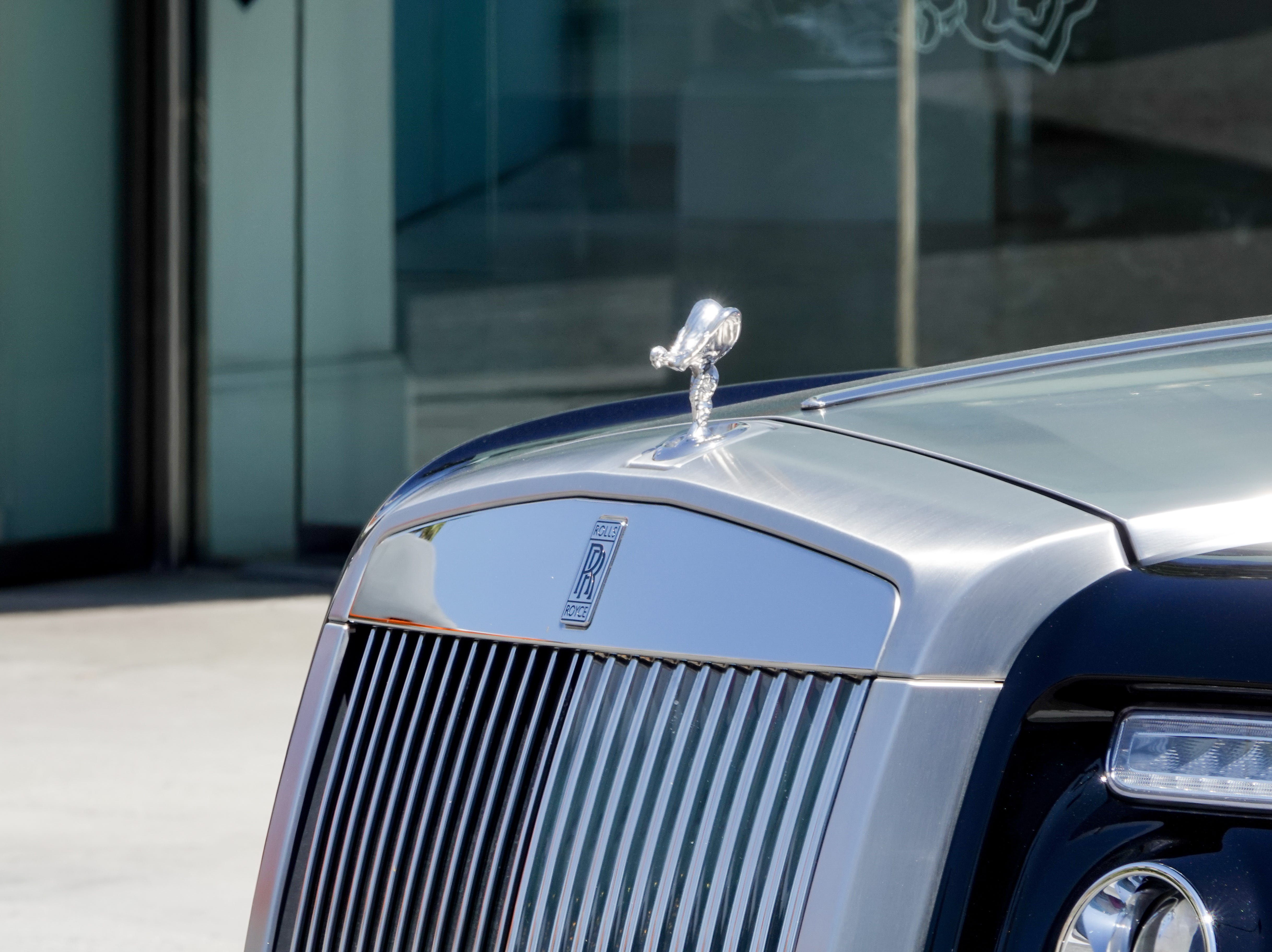 A Rolls Royce seen driving down the streets of Beverly Hills