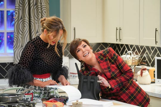 Kris Jenner, right, is one of the many celebrities who pay Chrissy Teigen and her singer husband a visit in their hour-long Christmas special.