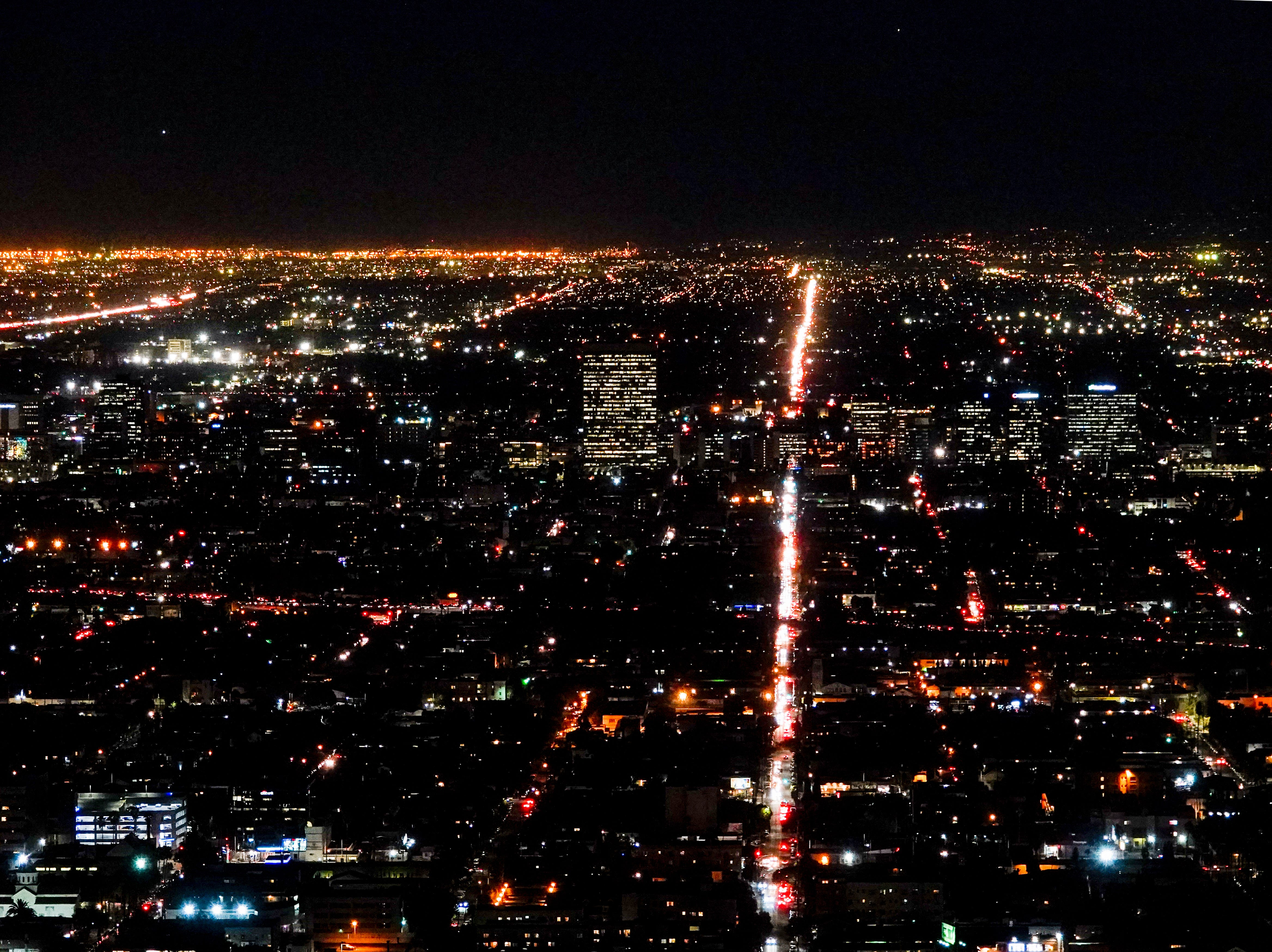 This shot of the Los Angeles skyline shows the street to stay away from during rush hour--Western Avenue