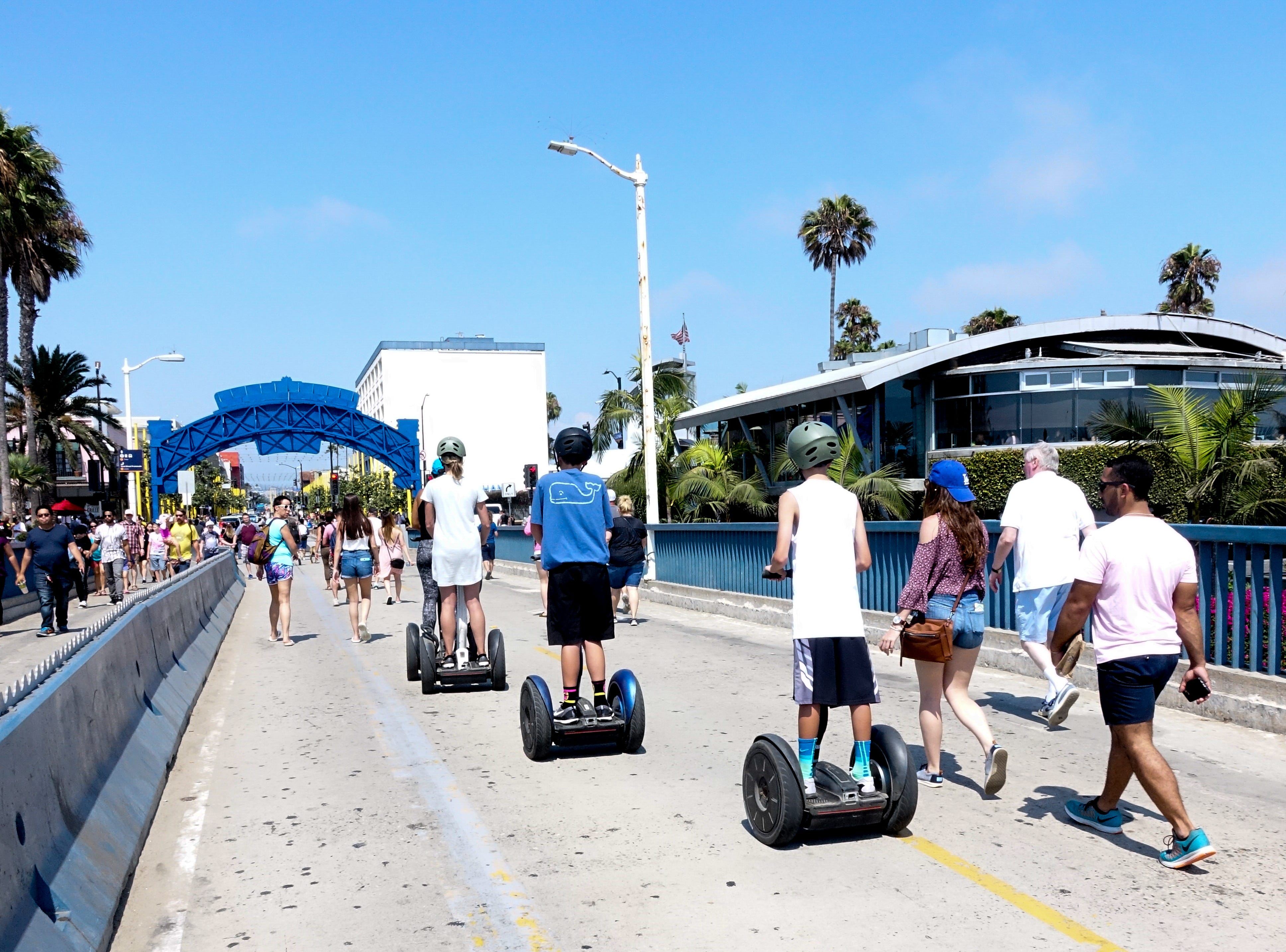 Riding Segways off the Santa Monica Pier
