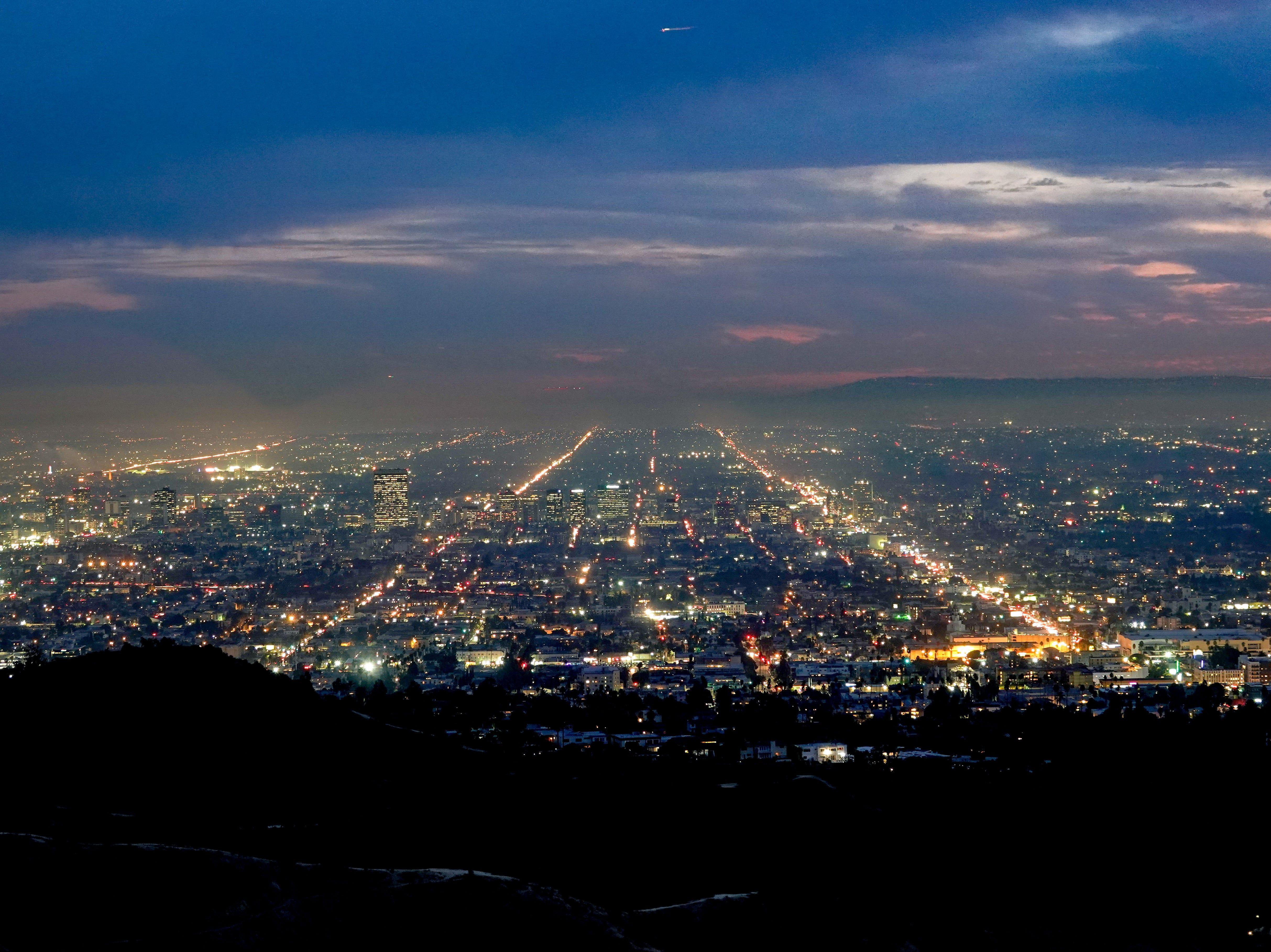 Los Angeles skyline at night.