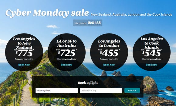 A screenshot of Air New Zealand's website on Nov. 26, 2018, show the carrier's promotion for Cyber Monday deals.