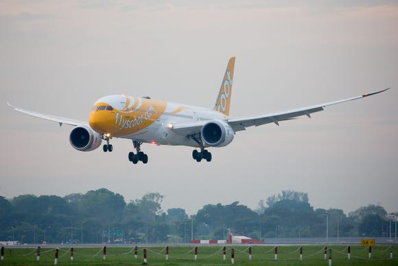 A Scoot Boeing 787-9 lands at Singapore Changi International Airport in October, 2018.