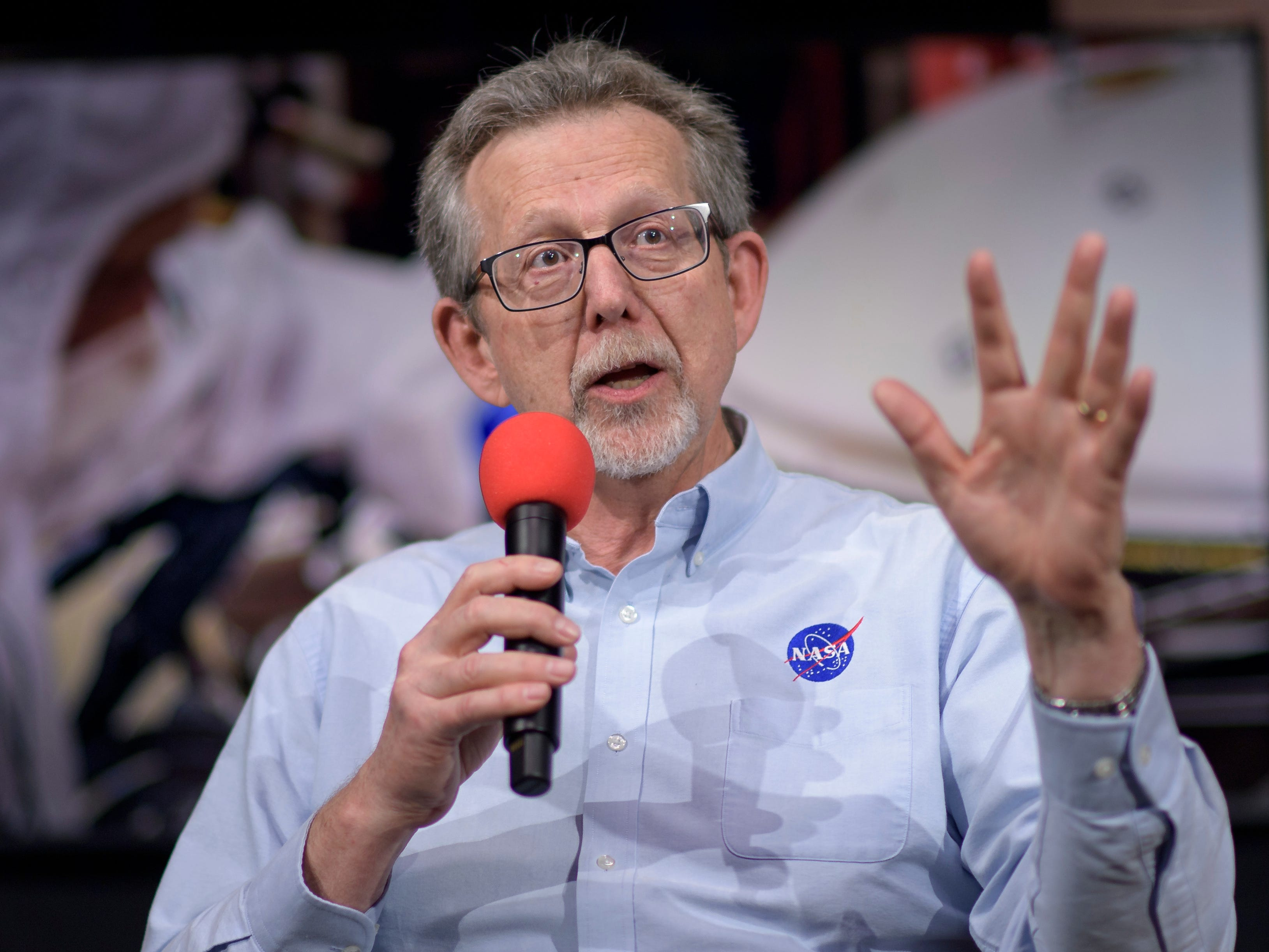 NASA chief scientist Jim Green talks about Mars InSight during a social media briefing Sunday, Nov. 25, 2018, at NASA's Jet Propulsion Laboratory in Pasadena, Calif.