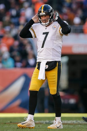 Pittsburgh Steelers quarterback Ben Roethlisberger (7) reacts in the first quarter against the Denver Broncos at Broncos Stadium at Mile High.